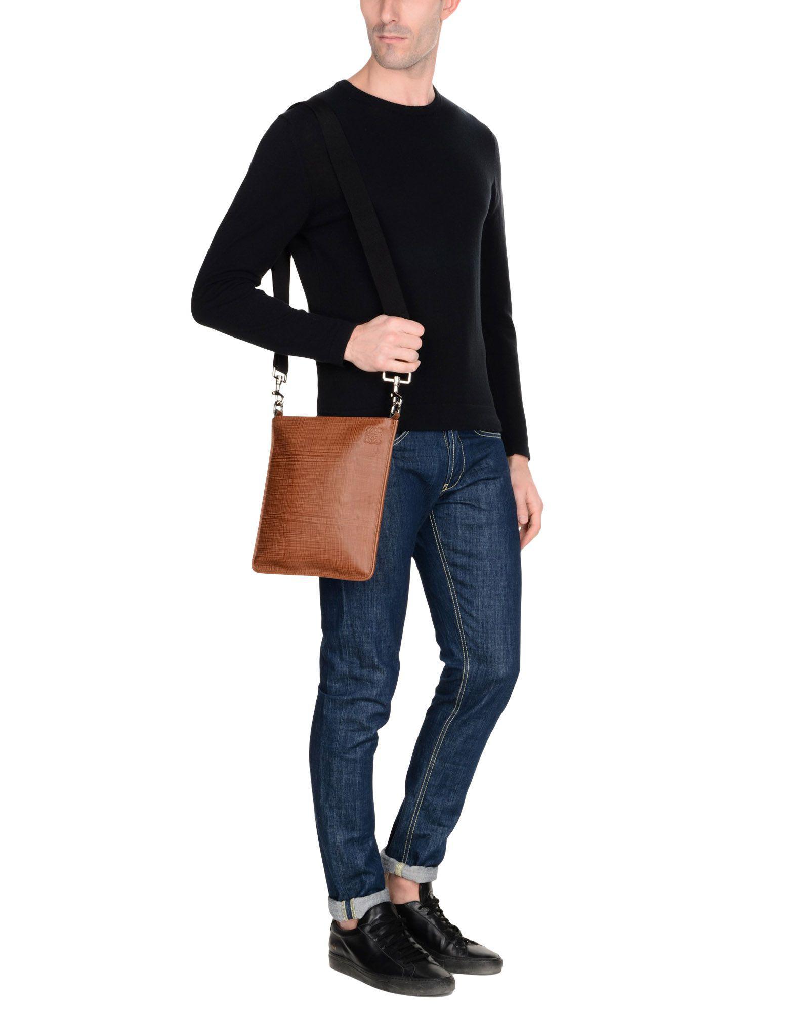 Loewe Leather Cross-body Bag in Brown for Men