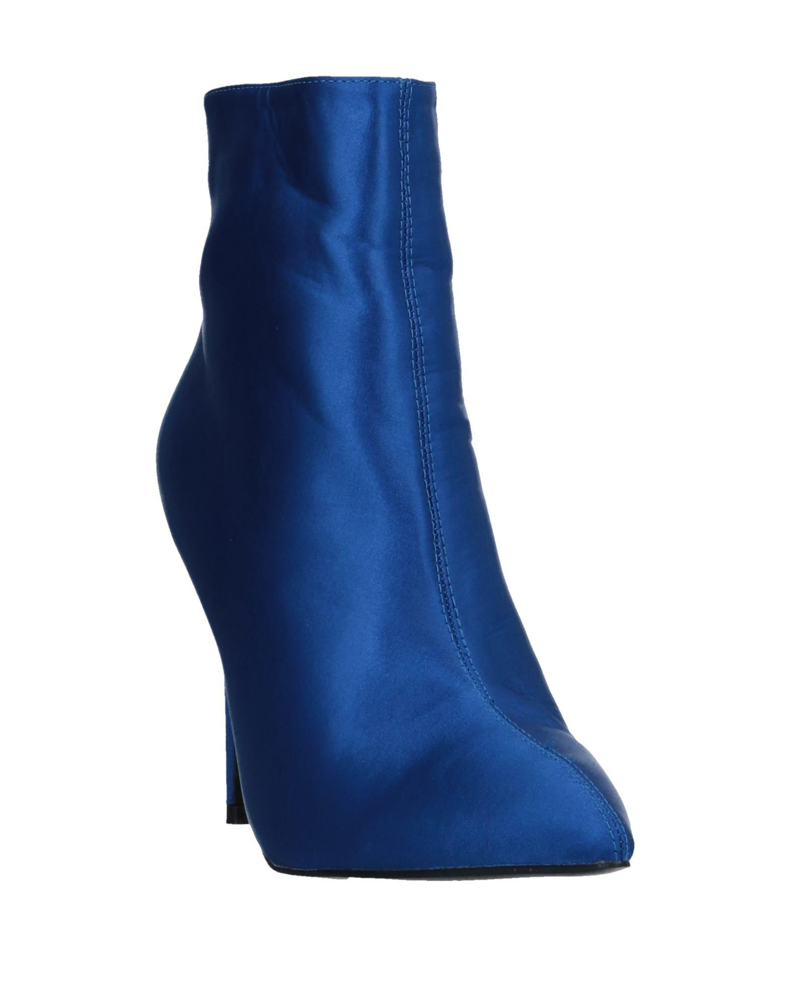 Public Desire Satin Ankle Boots in Bright Blue (Blue)