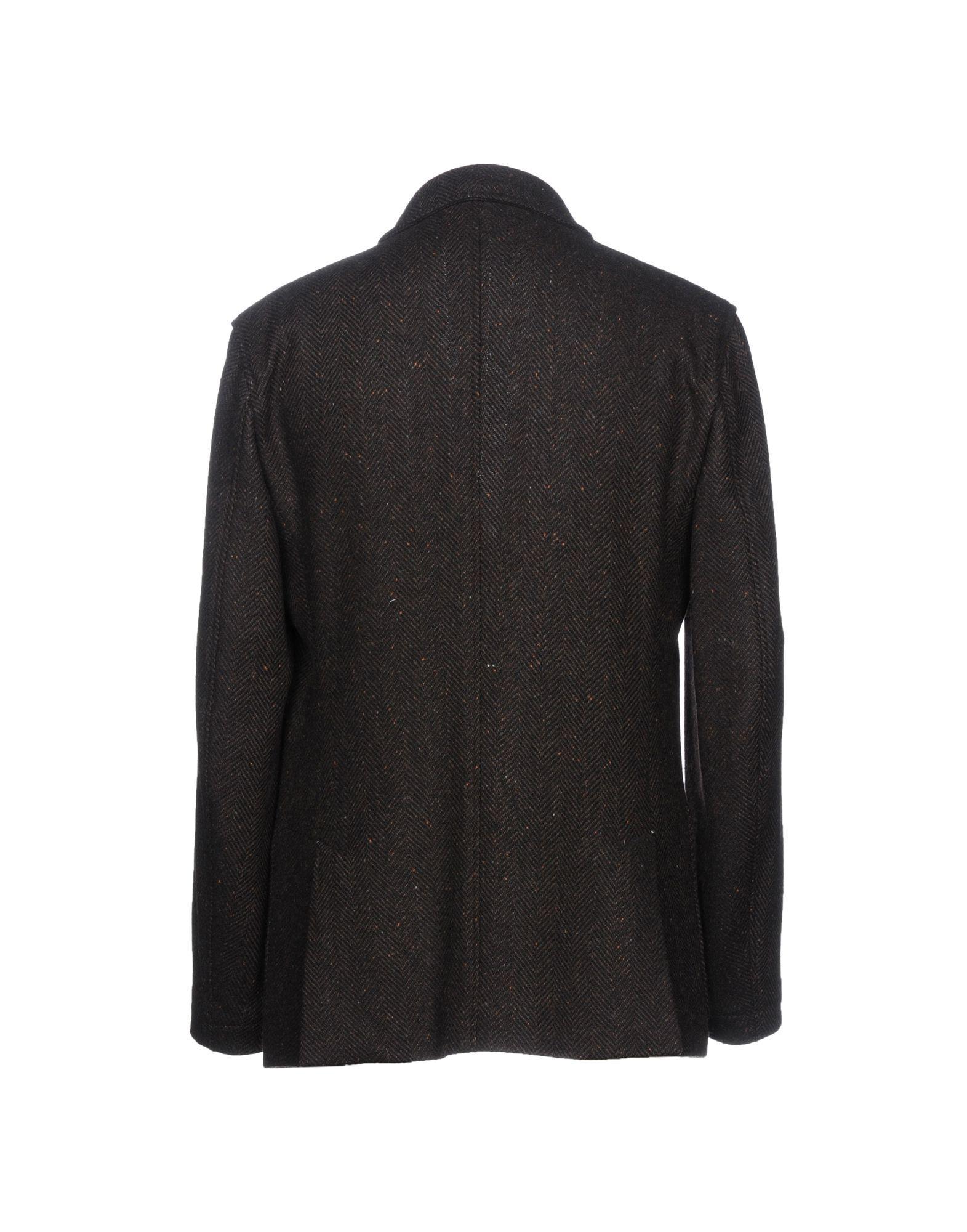 Umit Benan Flannel Blazer in Dark Brown (Brown) for Men
