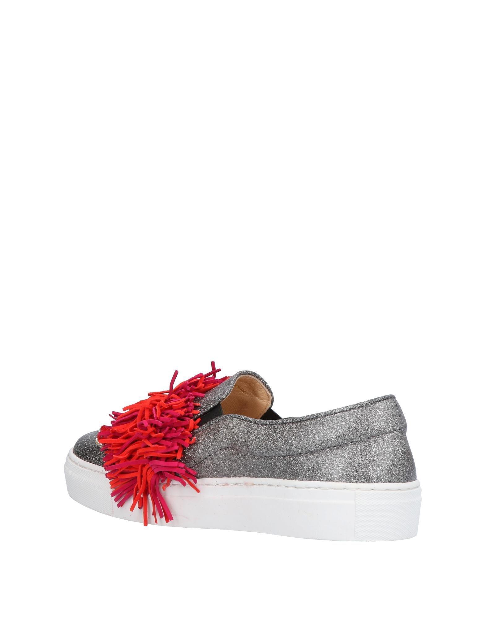 Gedebe Leather Silver-tone Lesly Fringe Sneakers in Metallic