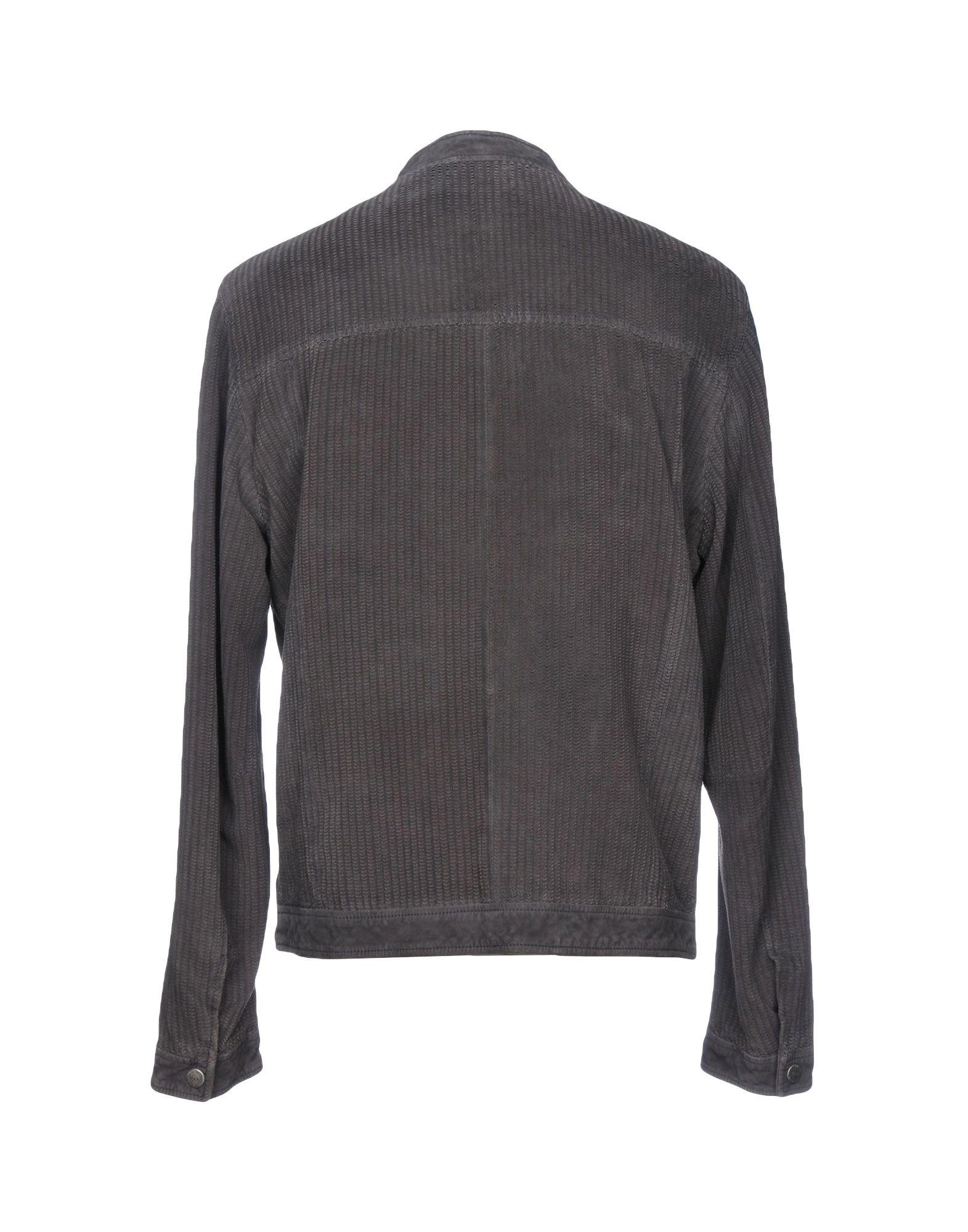 Minoronzoni 1953 Leather Jacket in Lead (Grey) for Men
