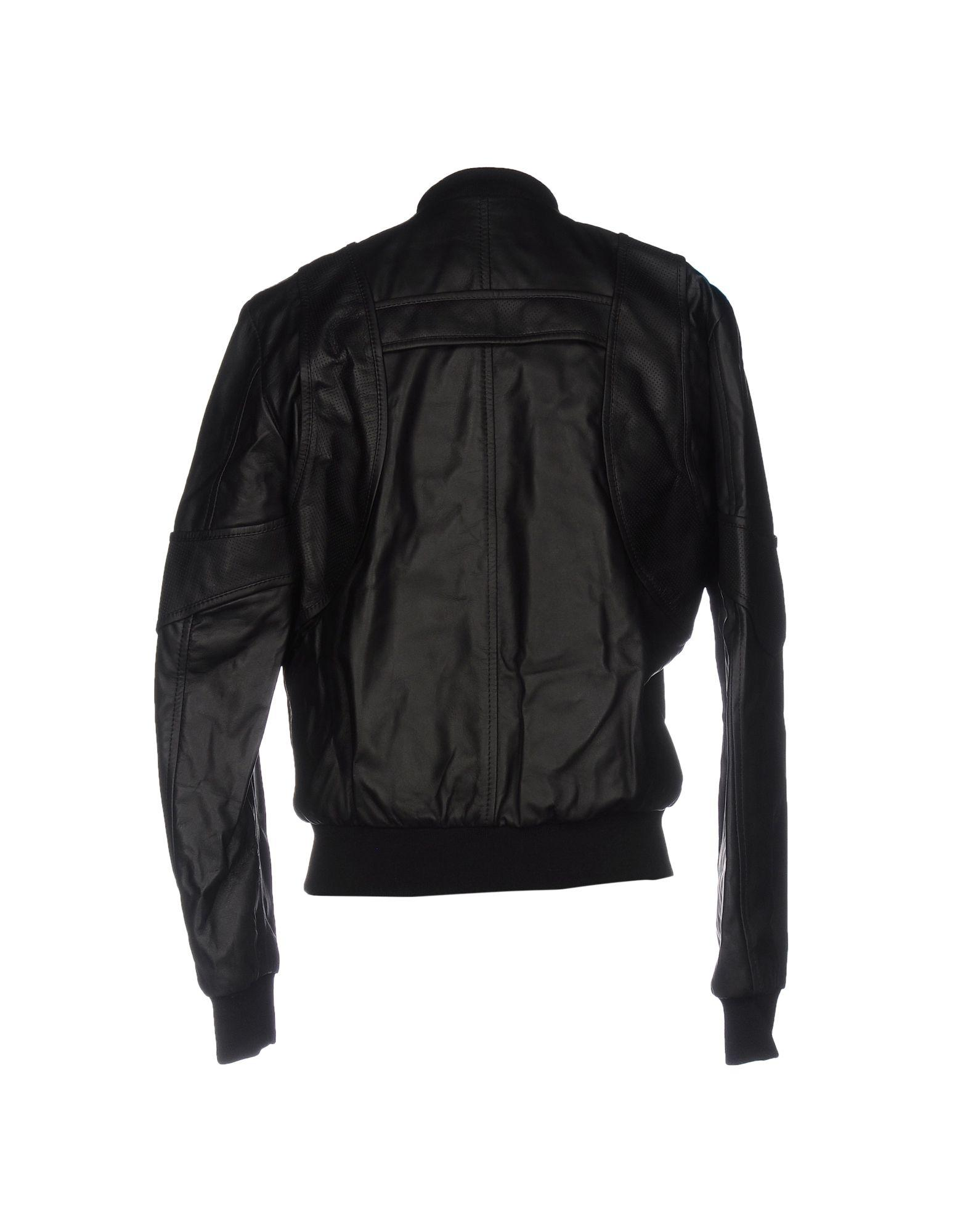 Marcelo Burlon Leather Jacket in Black for Men