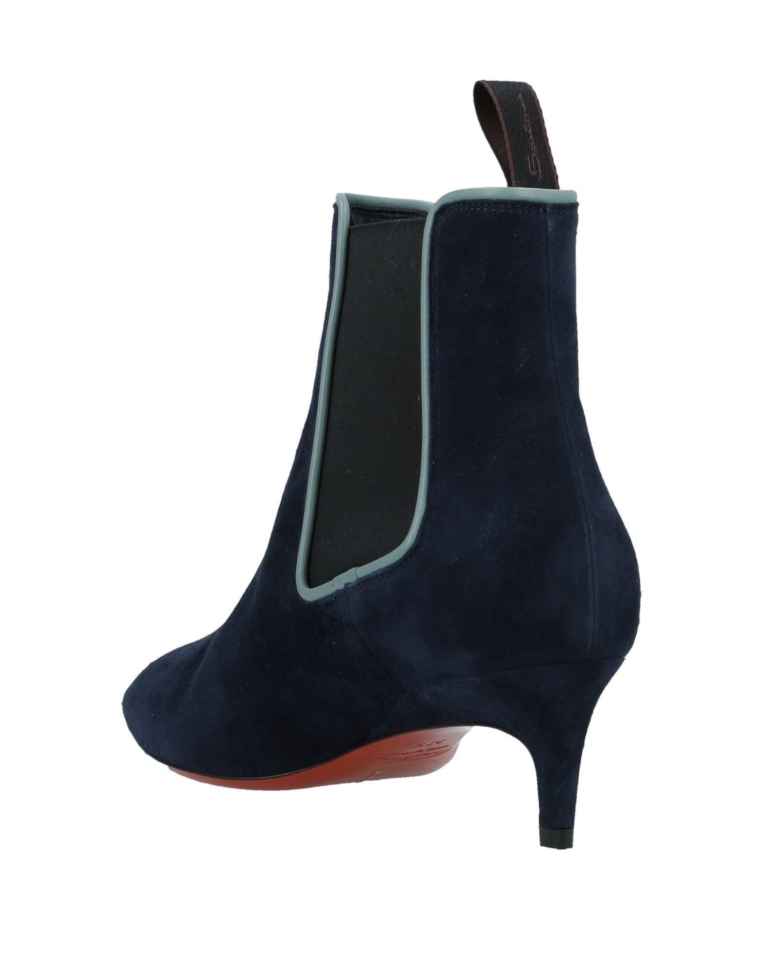 Botines de caña alta Santoni de Ante de color Azul