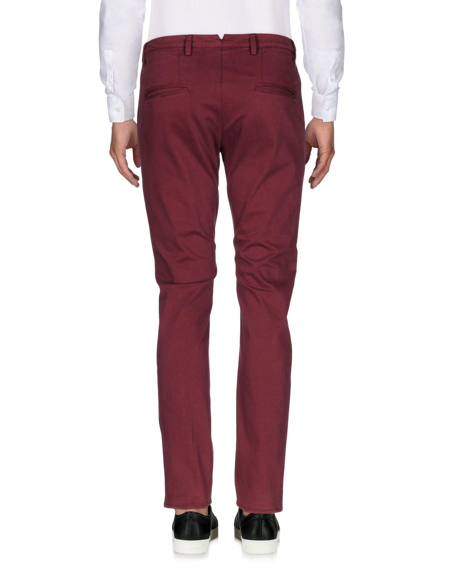 People Cotton Casual Pants in Maroon (Purple) for Men