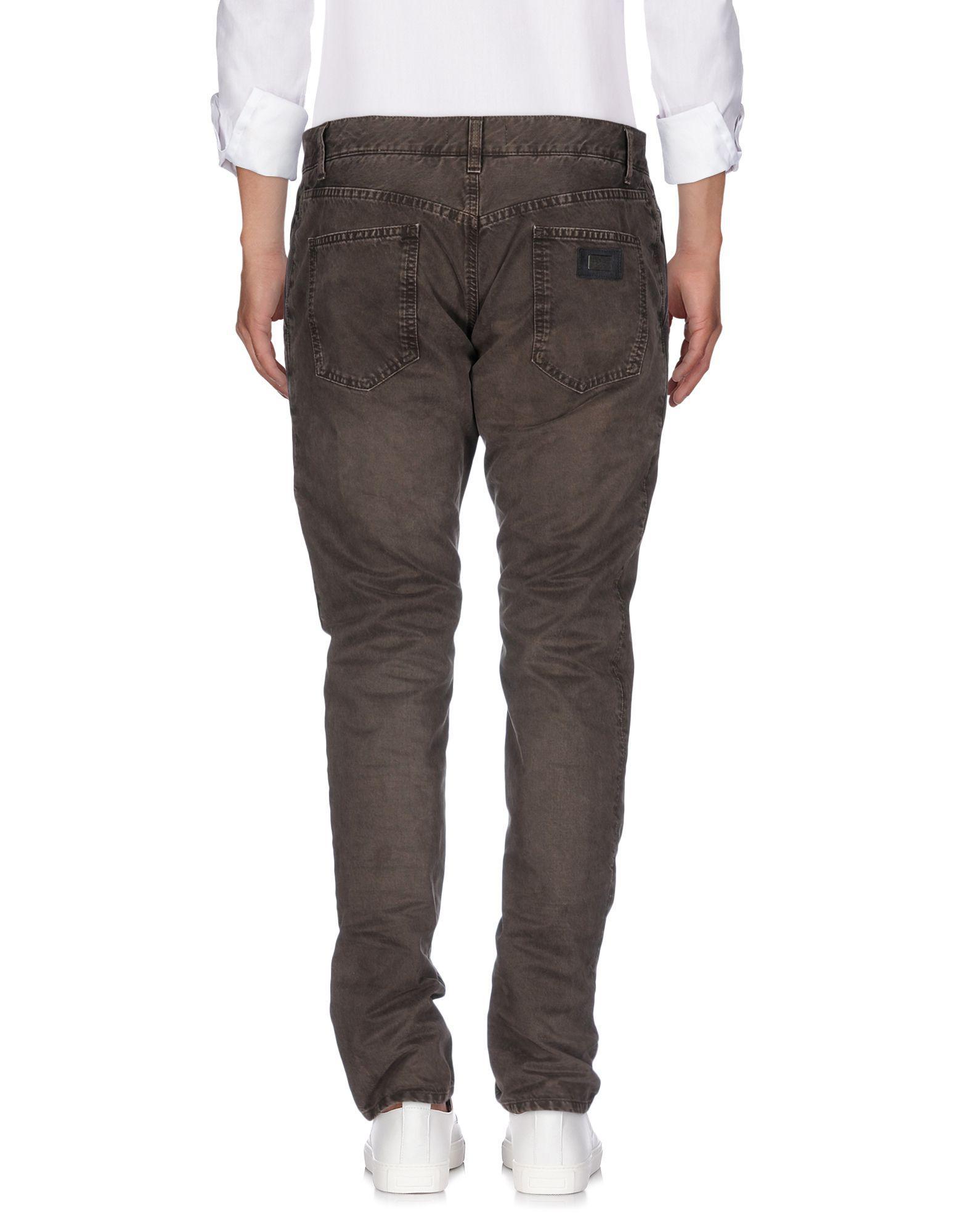 Dolce & Gabbana Denim Trousers in Khaki (Grey) for Men