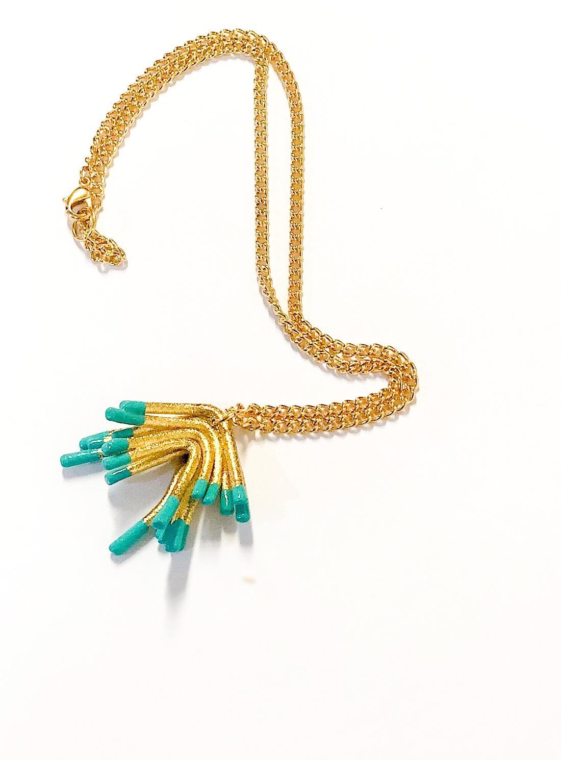 Oddical Synthetic Sylvie Mini Pendant Necklace in Gold (Metallic)