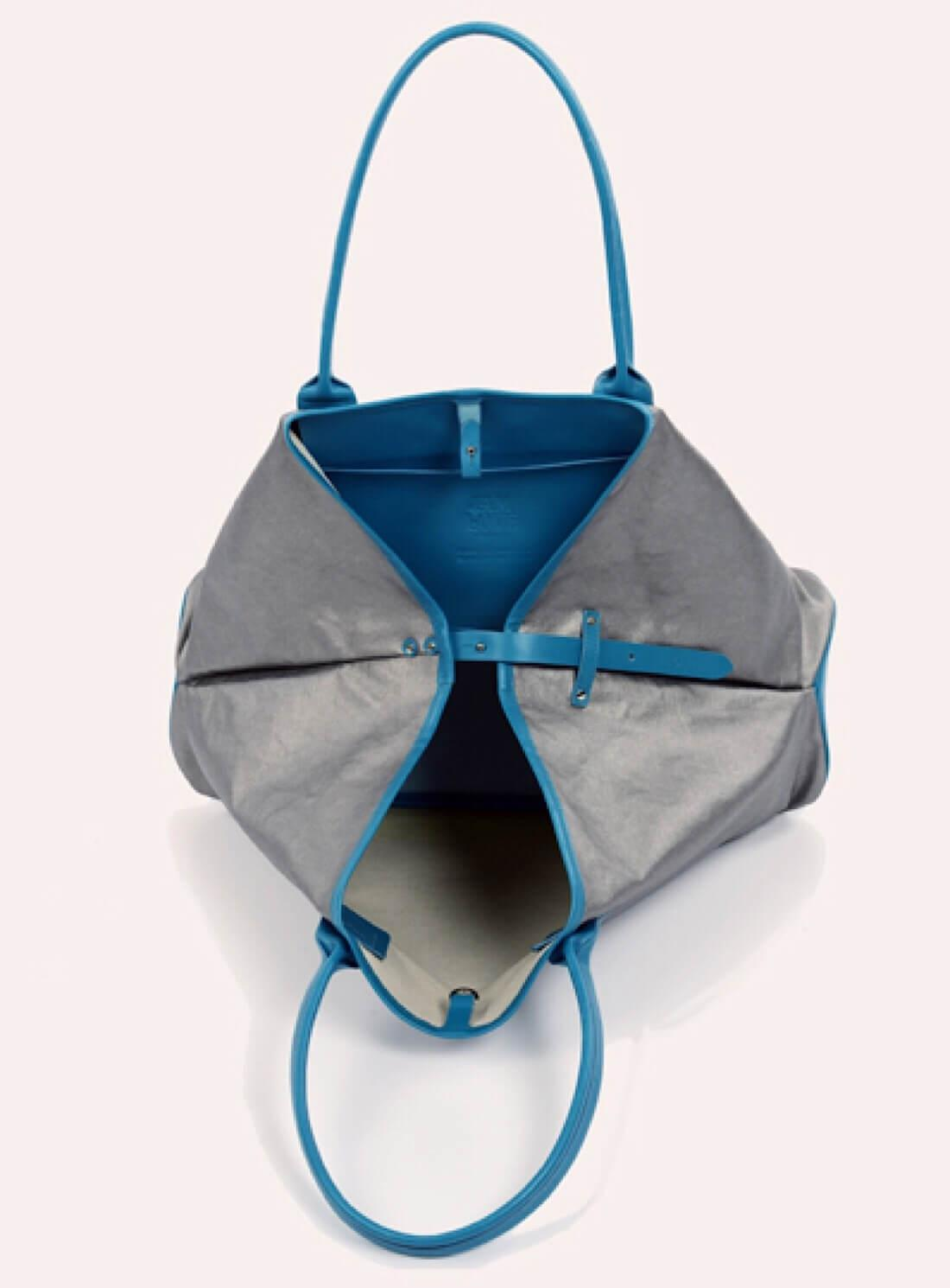 Jam Love London Cotton Large Travel Tote In Sky Blue Silver Metallic