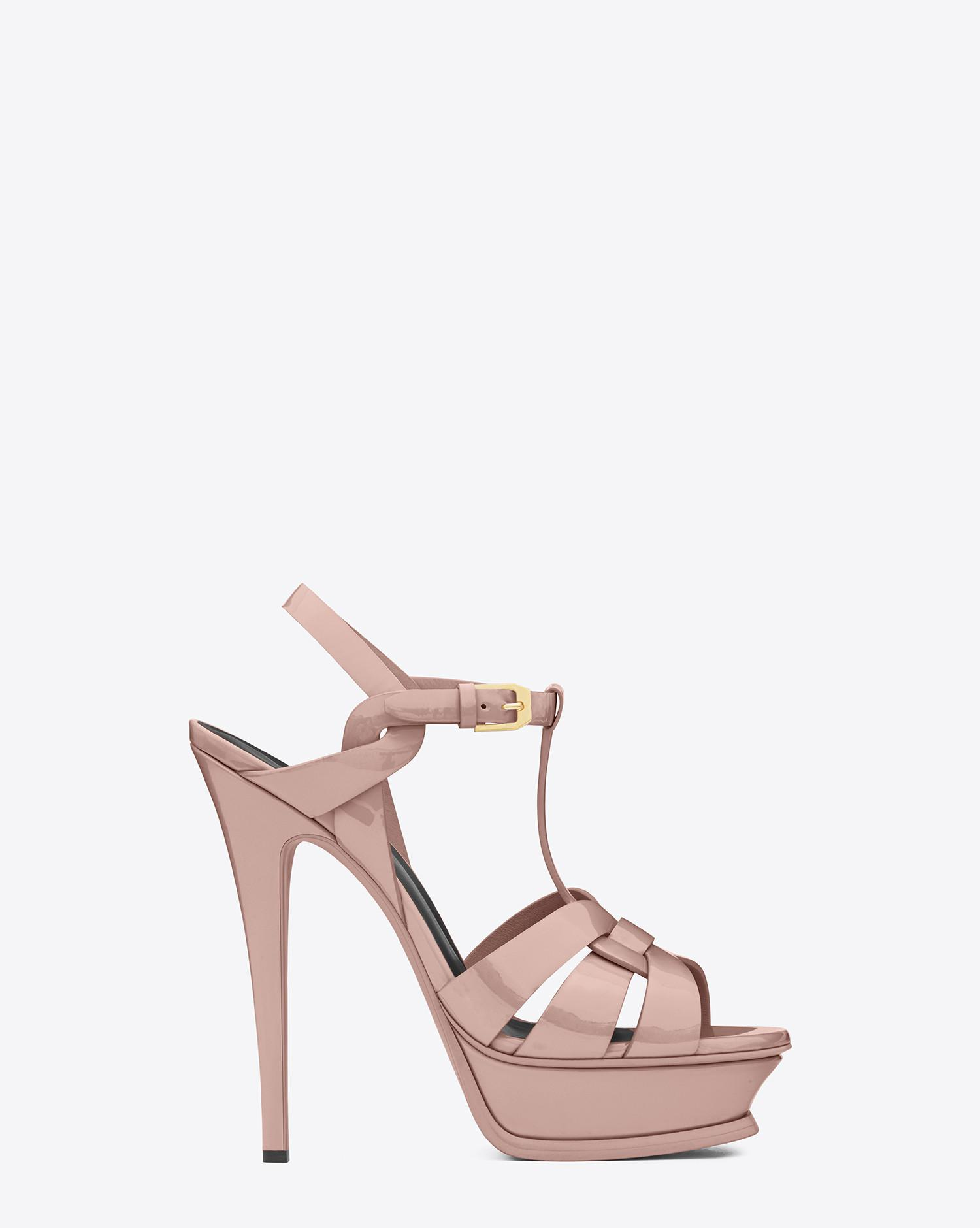 f492760b4 Saint Laurent Tribute Sandal In Patent Leather in Pink - Lyst