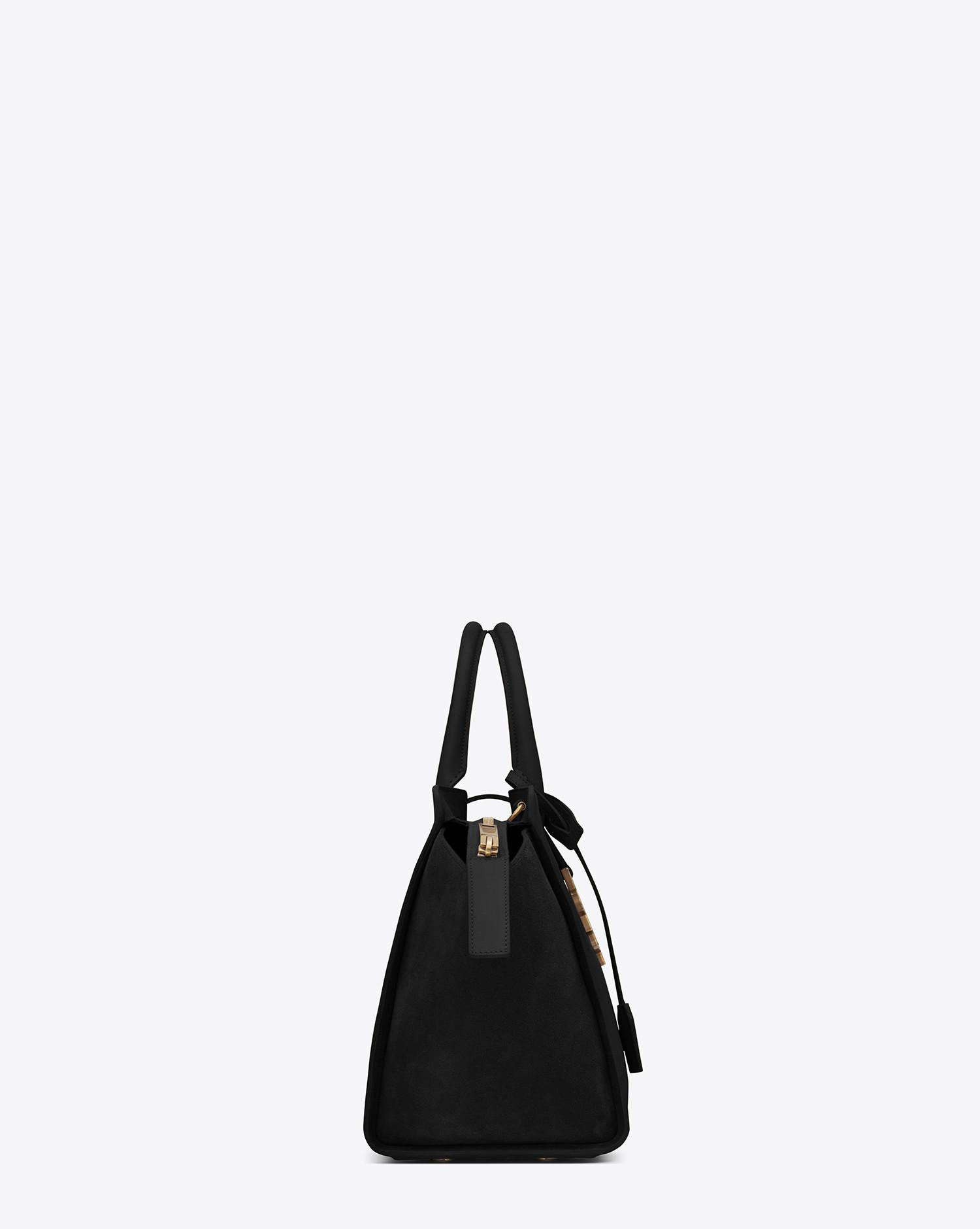 af39cda8ba Lyst - Saint Laurent Small Monogram Downtown Cabas Leather And Suede Tote  Bag in Black