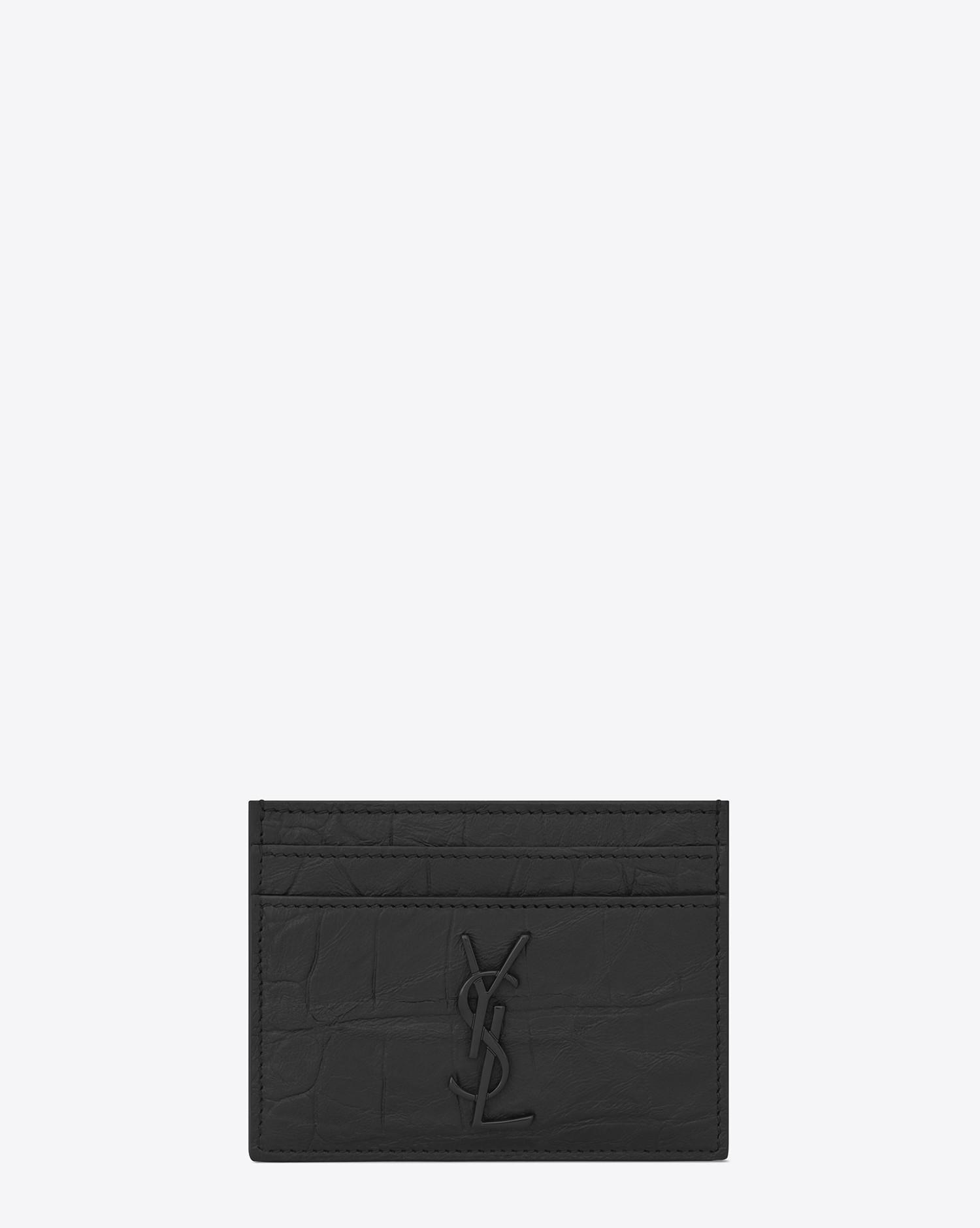 lyst saint laurent monogram card case in stamped crocodile leather