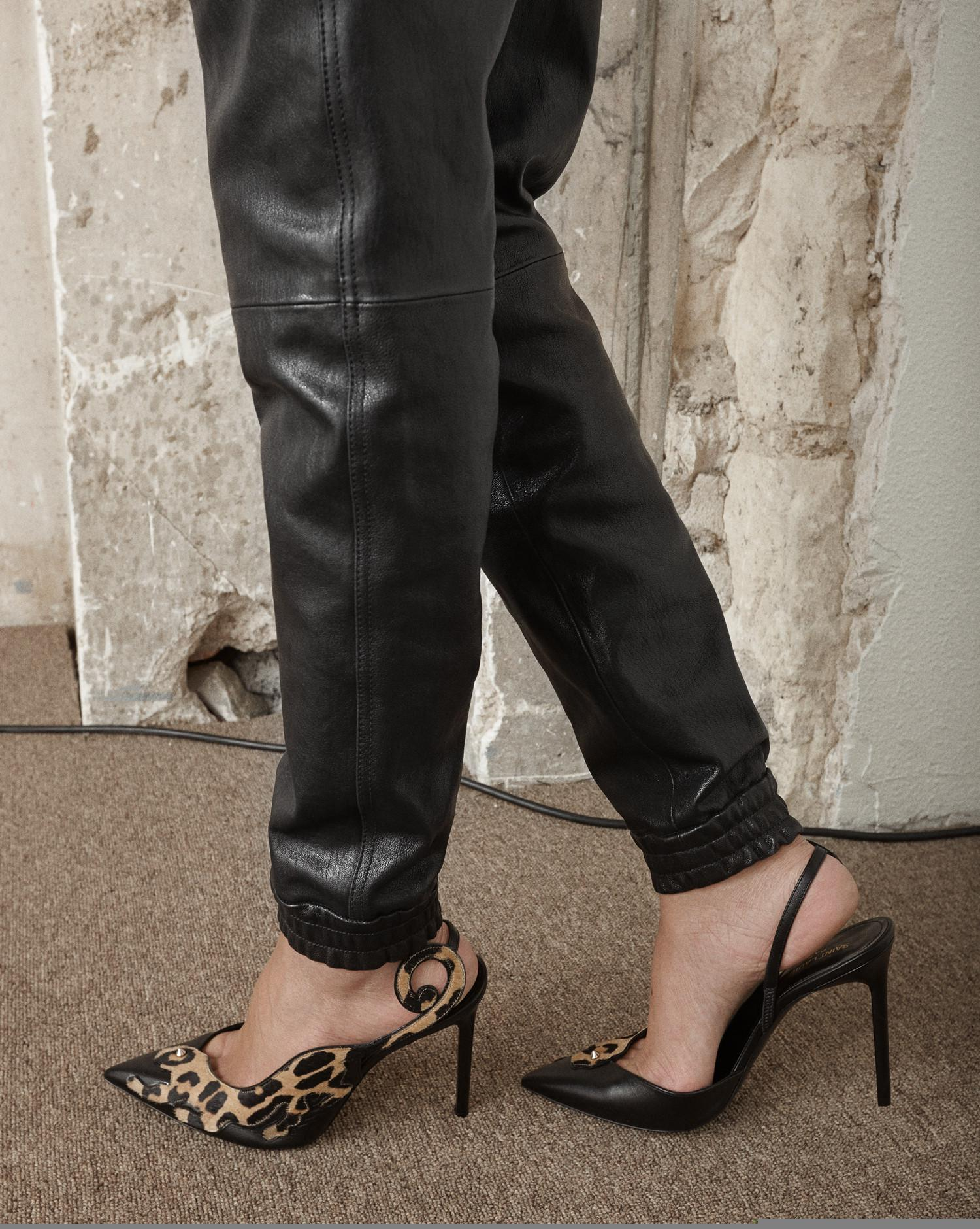 eb47aac1a7 Saint Laurent Anja 105 Punk Leopard Slingback Pump In Black Leather And Tan  Cowhide