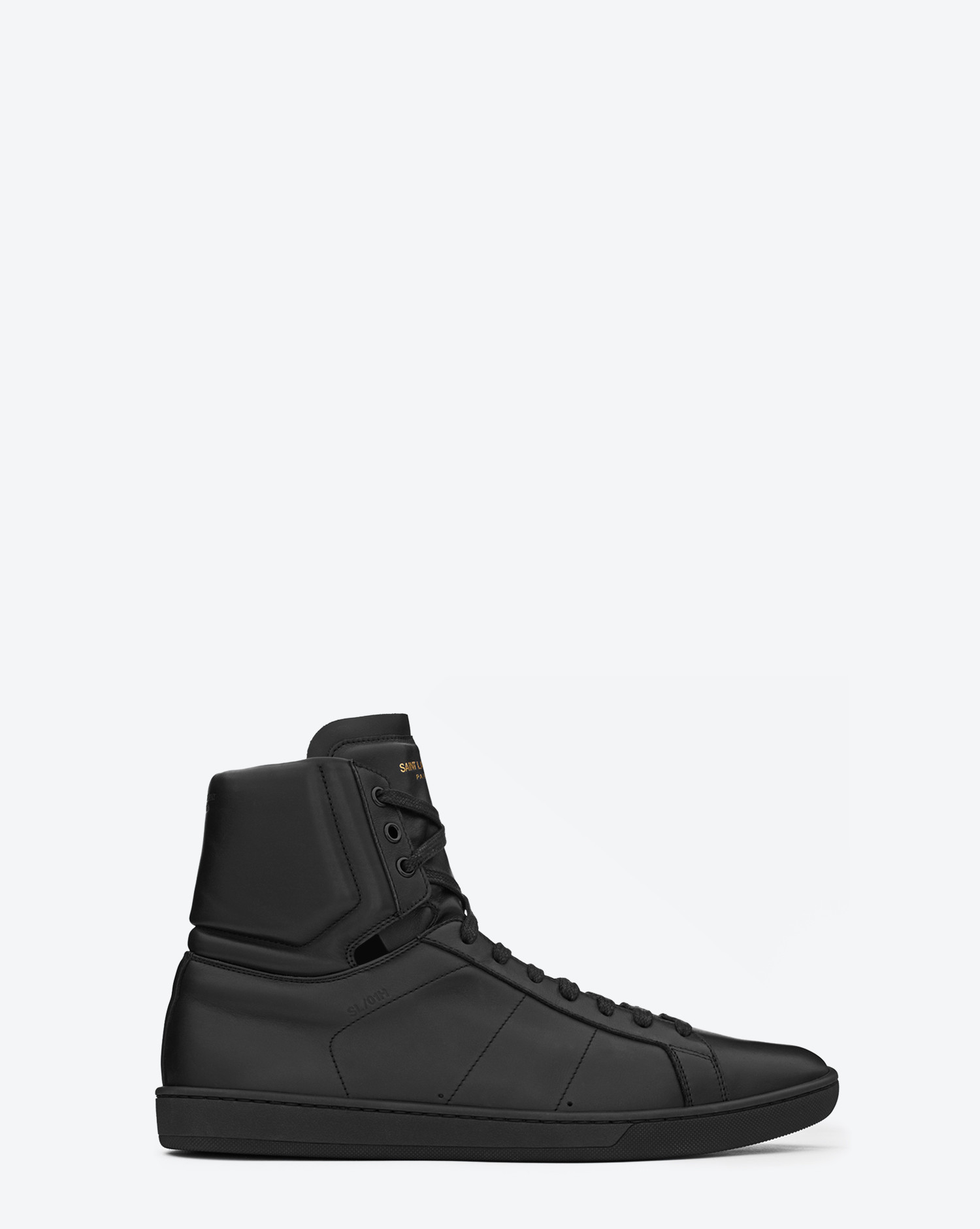 saint laurent signature court classic sl 01h high top sneaker in black leather in black for men. Black Bedroom Furniture Sets. Home Design Ideas