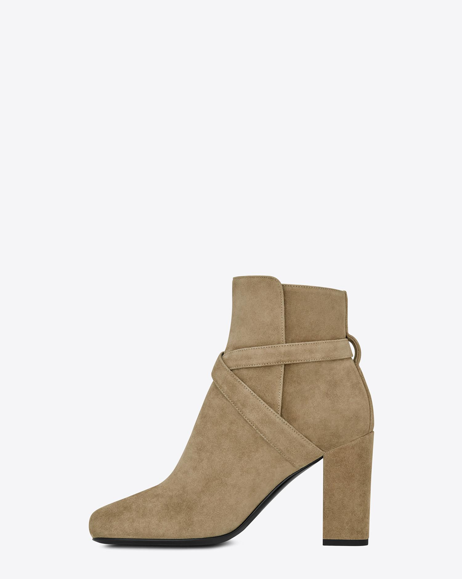 128aa06334 Saint Laurent Multicolor Babies 90 Cross Strap Ankle Boot In Light Tobacco  Suede And Antique Gold-toned Metal