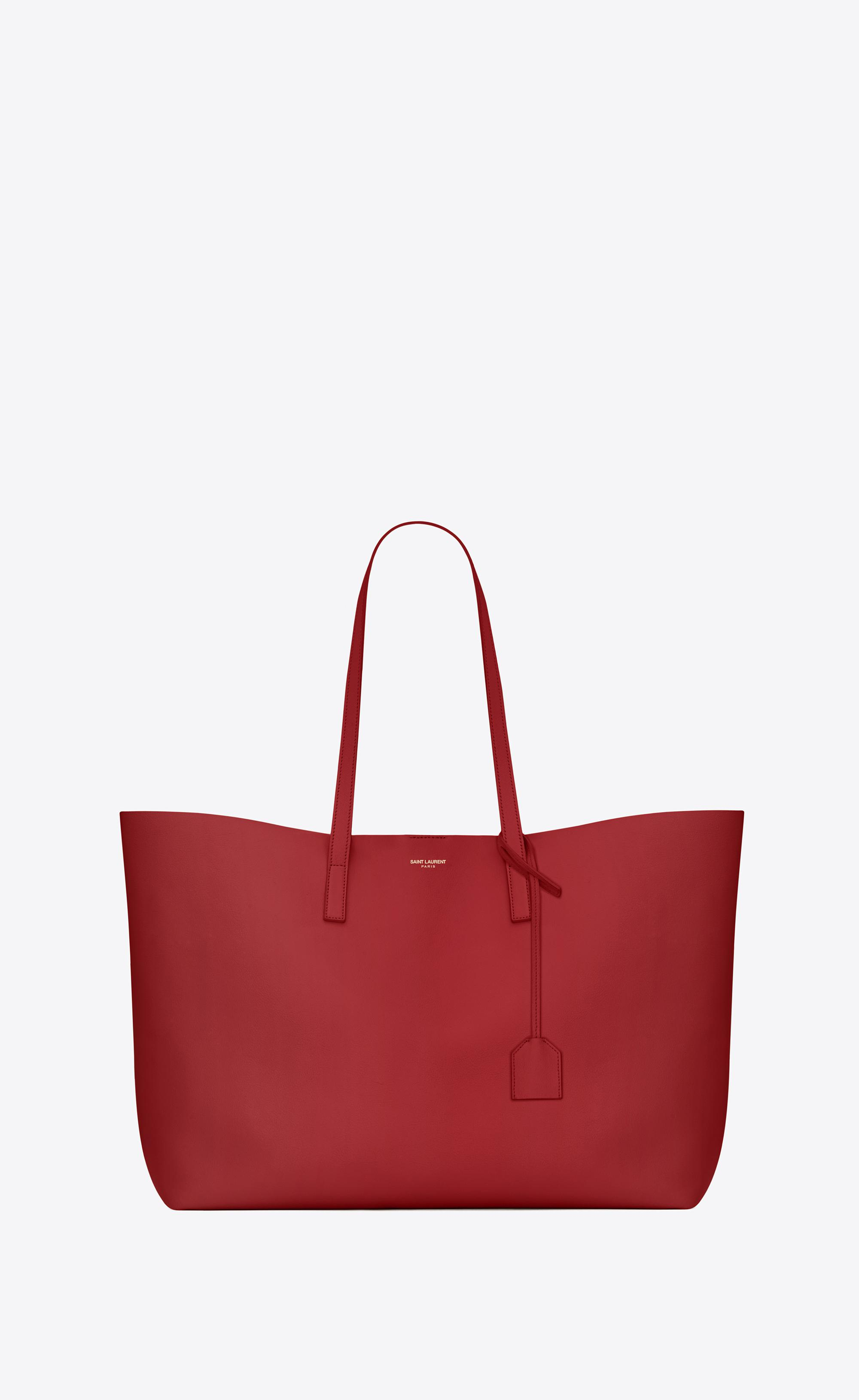 Lyst - Saint Laurent Shopping Bag E w In Supple Leather in Red fa062f488c1f3