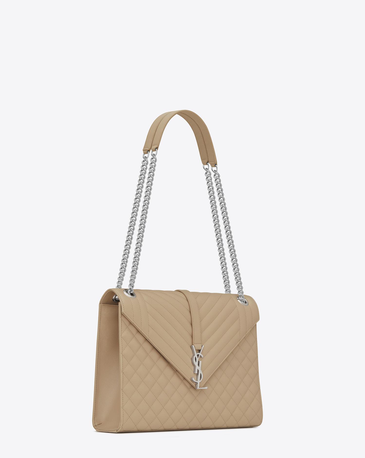 37ab218e7116 Saint Laurent Envelope Chain Bag In Grain De Poudre Embossed Leather ...