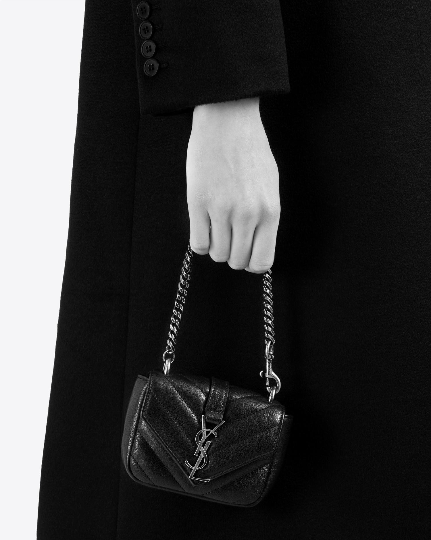 6eec6919db56 Lyst - Saint Laurent Mini College Bag In Bordeaux Matelassé Leather