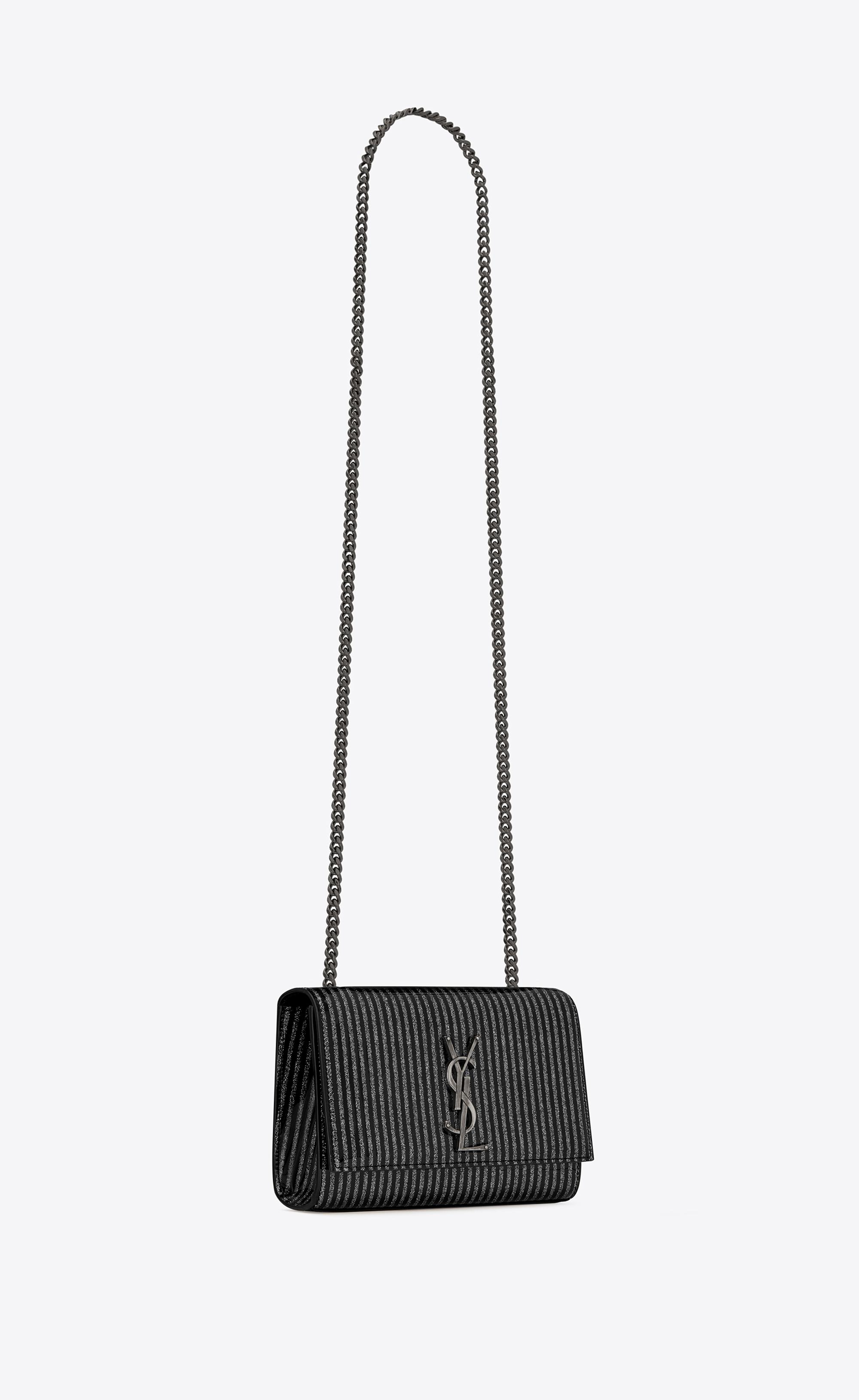 d10fb99c91a86 Saint Laurent Kate Small In Glitter Striped Patent Leather - Lyst