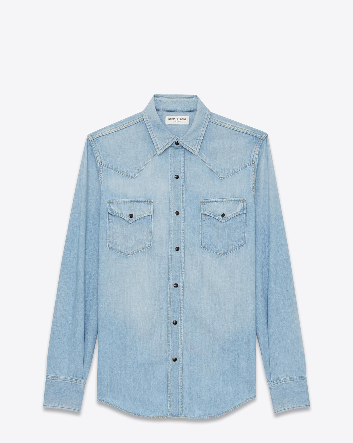 522b71473d Saint Laurent - Blue Western Shirts for Men - Lyst. View fullscreen