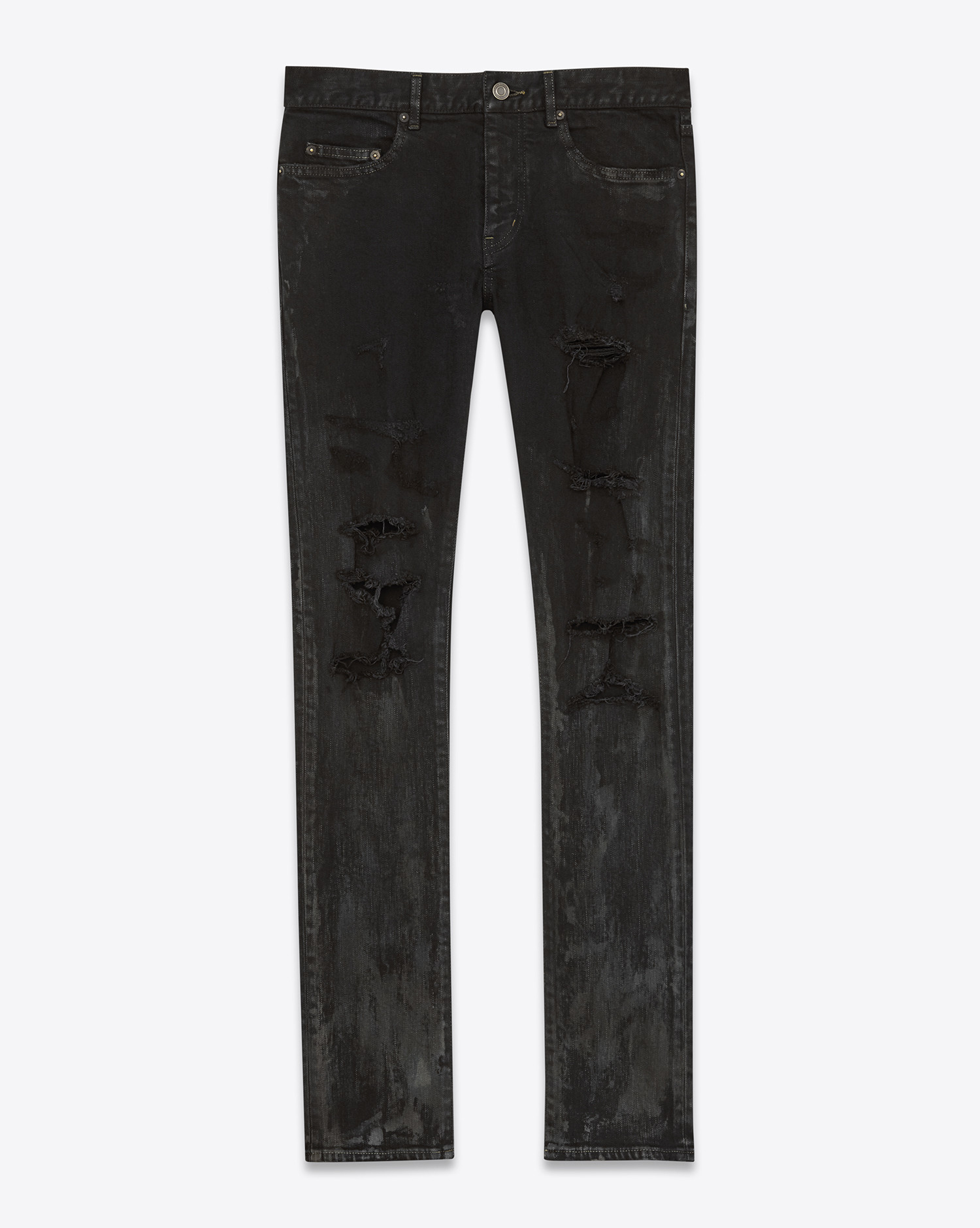 saint laurent original low waisted skinny jean in stained. Black Bedroom Furniture Sets. Home Design Ideas