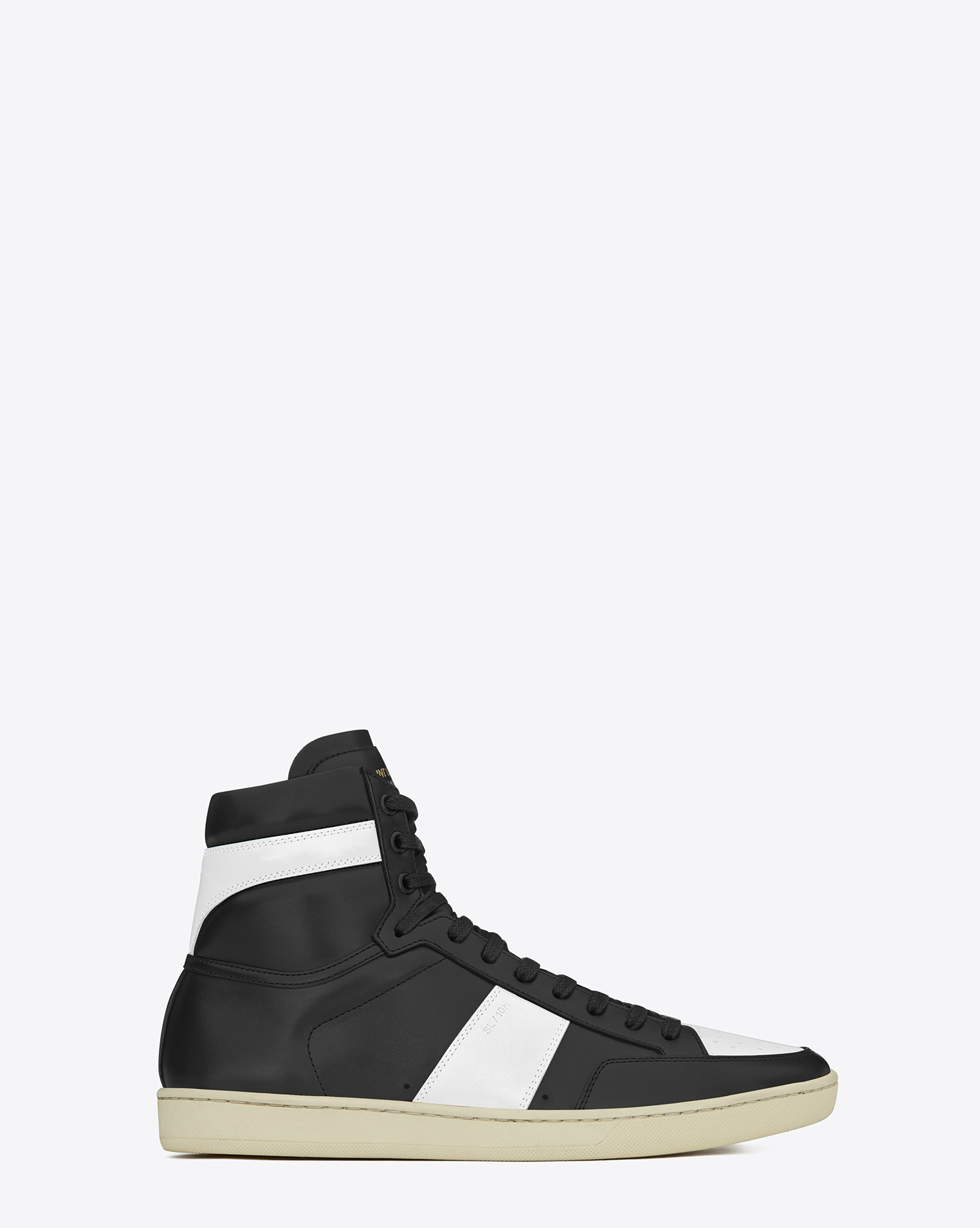 saint laurent signature court classic sl 10h high top sneaker in black and optic white leather. Black Bedroom Furniture Sets. Home Design Ideas