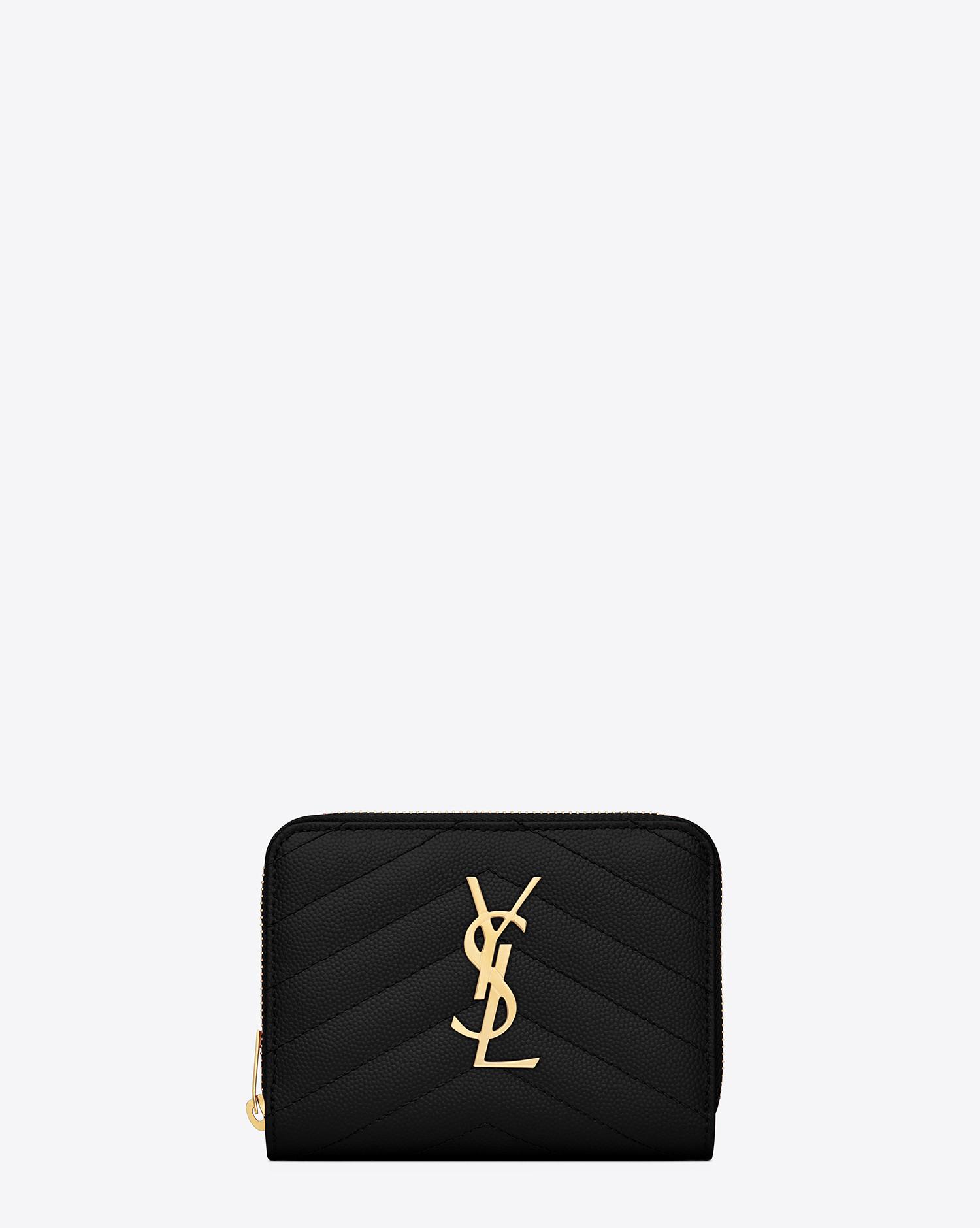 256d7798fcefe9 Saint laurent Monogram Compact Zip Around Wallet In Black Grain De Poudre  Textured Matelassé .