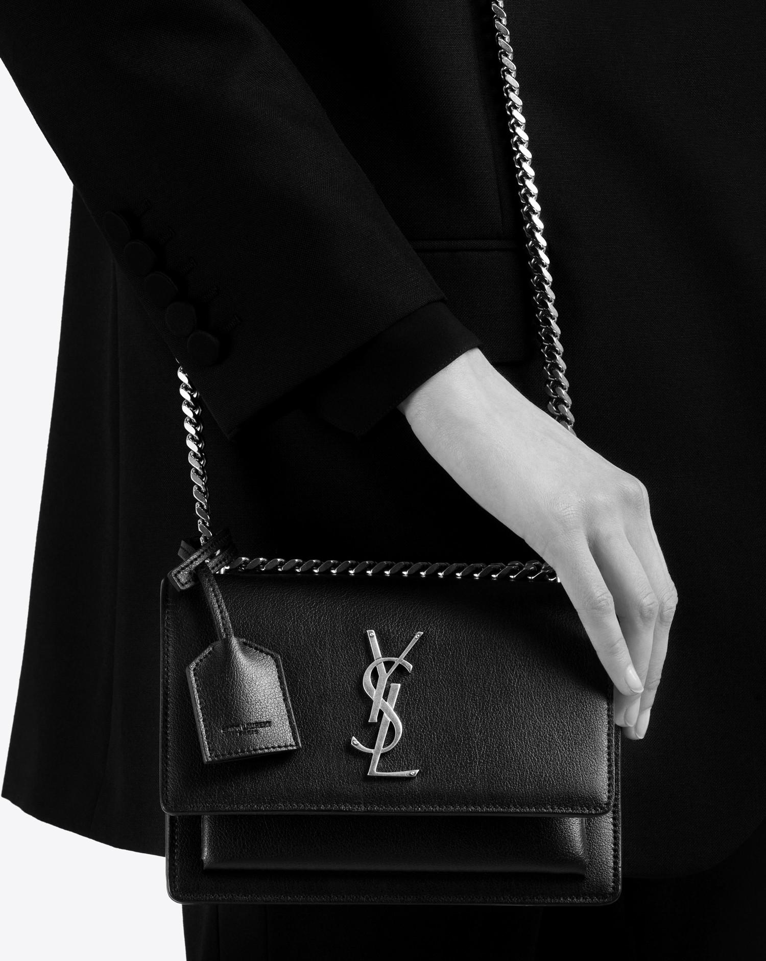 Lyst Saint Laurent Small Sunset Monogram Bag In Black