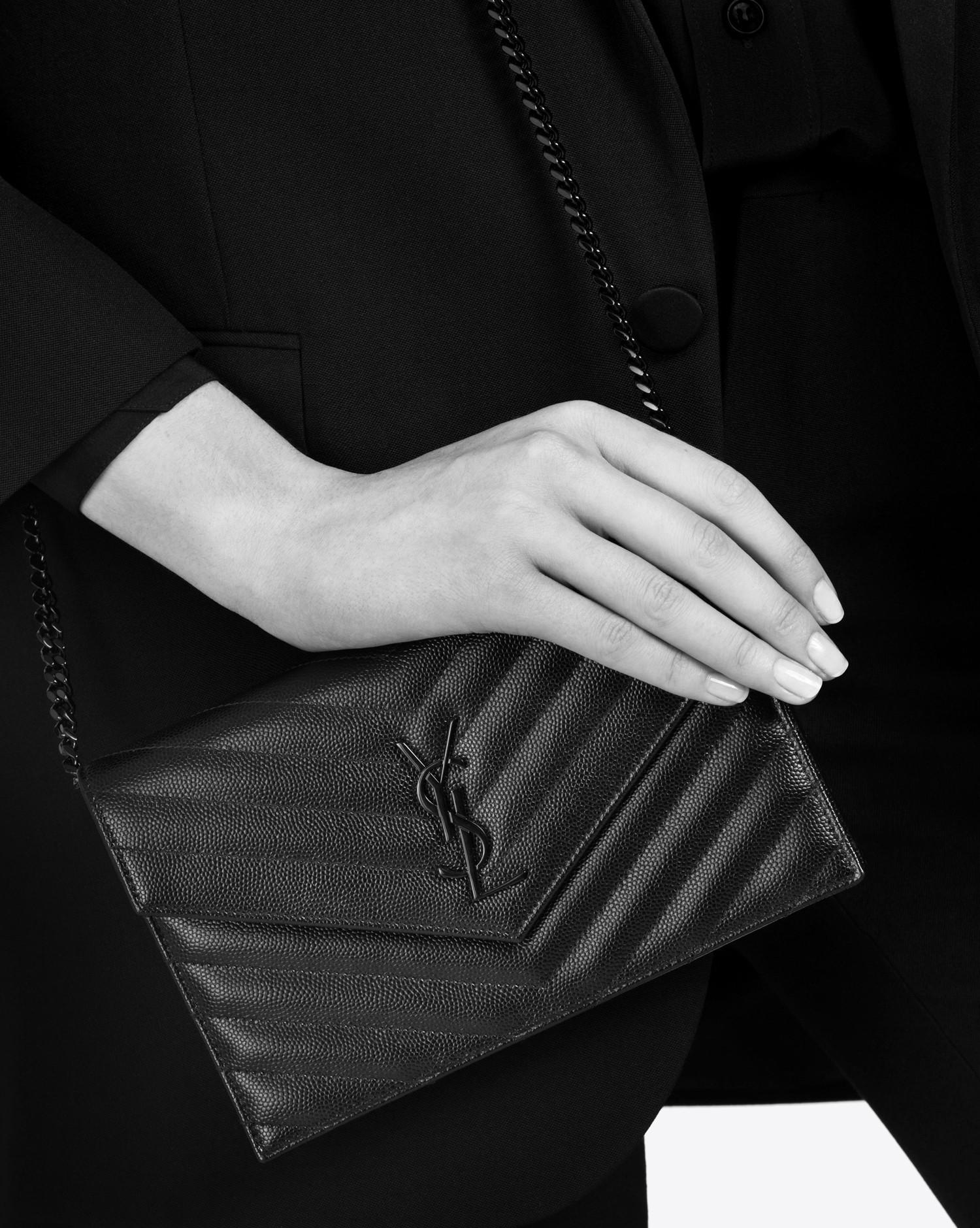fe47f233167 Saint Laurent Envelope Chain Wallet In Grain De Poudre Embossed Leather in  Black - Lyst