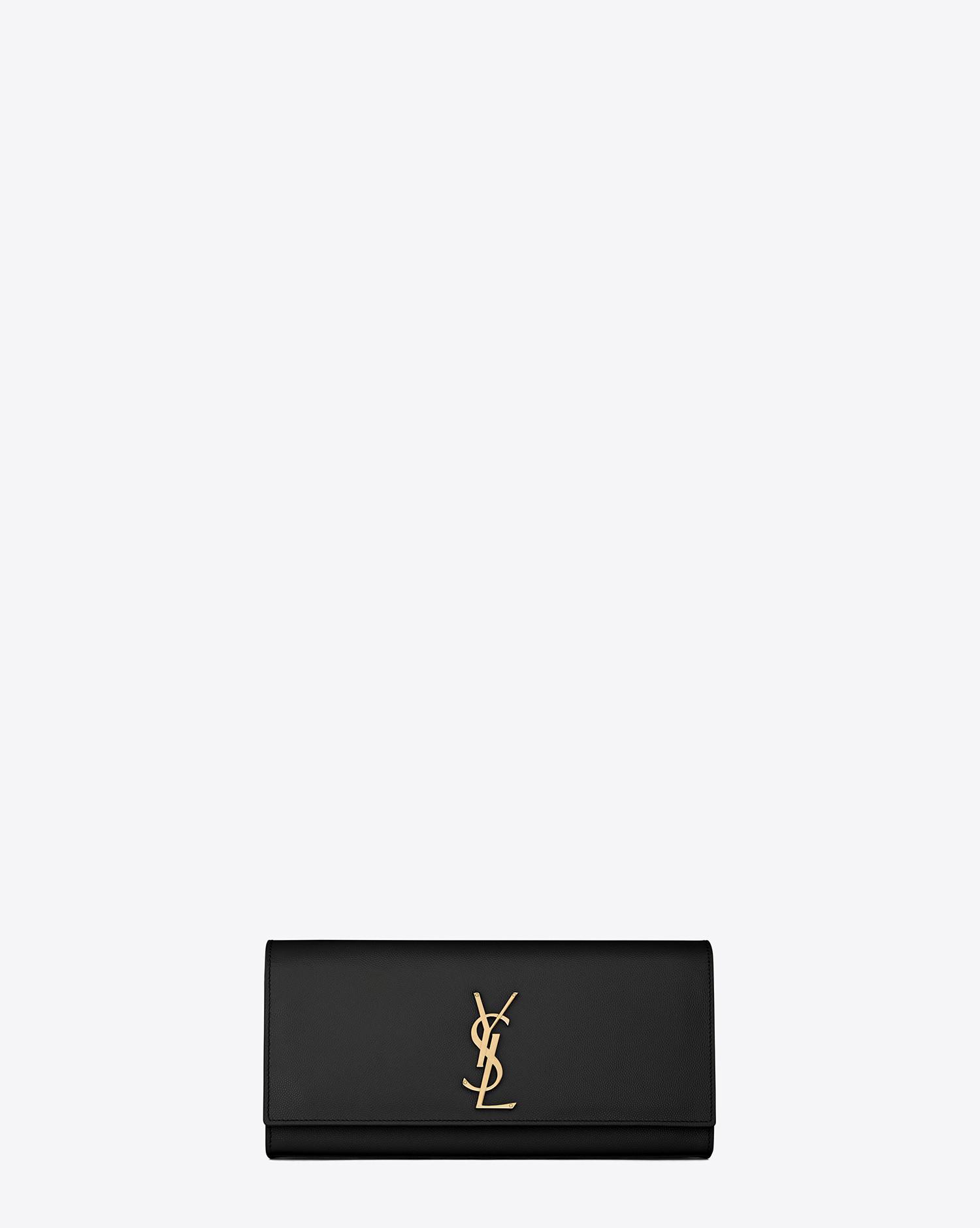2d452164259a Lyst - Saint Laurent Kate Clutch In Grain De Poudre Embossed Leather in  Black
