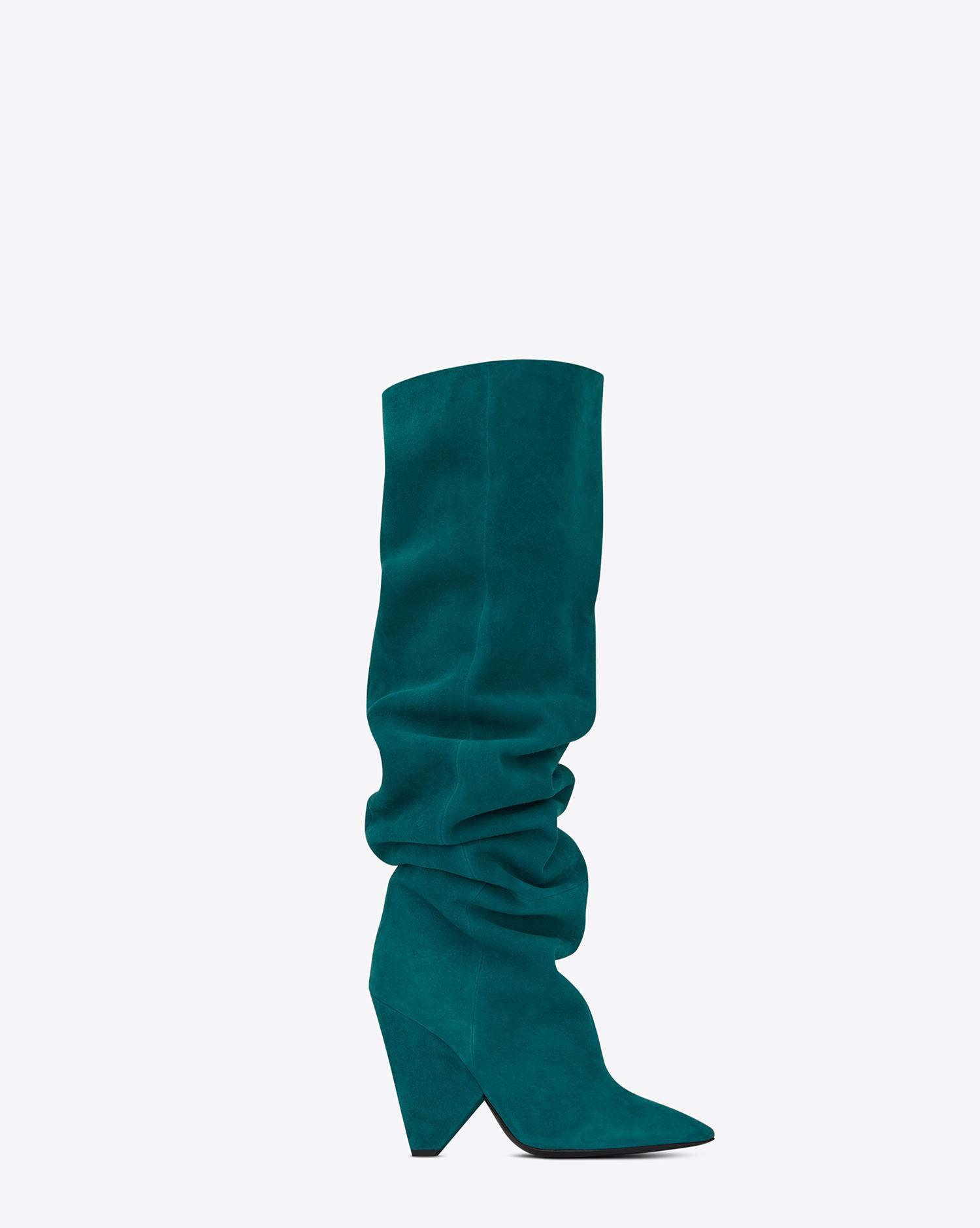 01ca9f18000 Saint Laurent Niki 105 Thigh-high Boot In Petrol Blue Suede