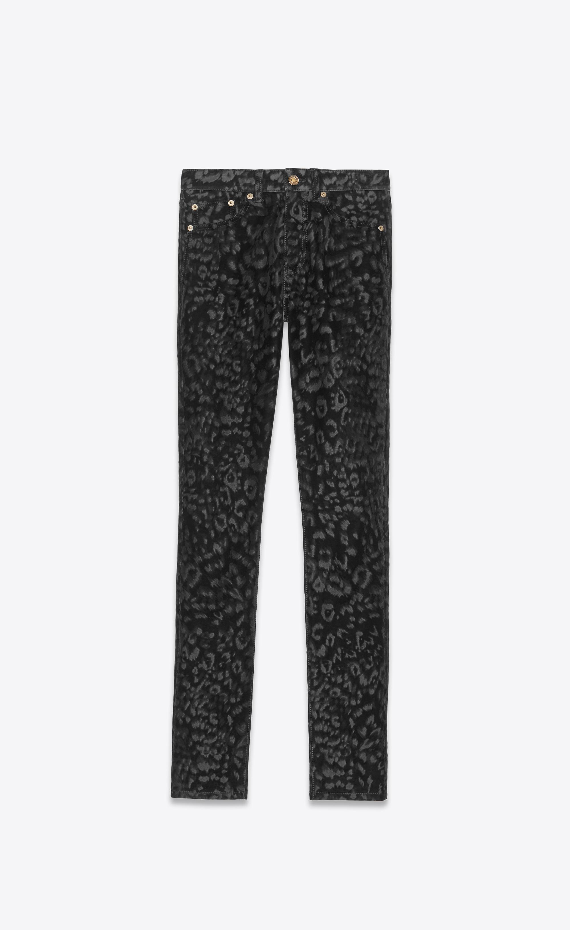 3f8ffe18767e Saint Laurent. Jean skinny à taille mi-haute en velours léopard noir femme