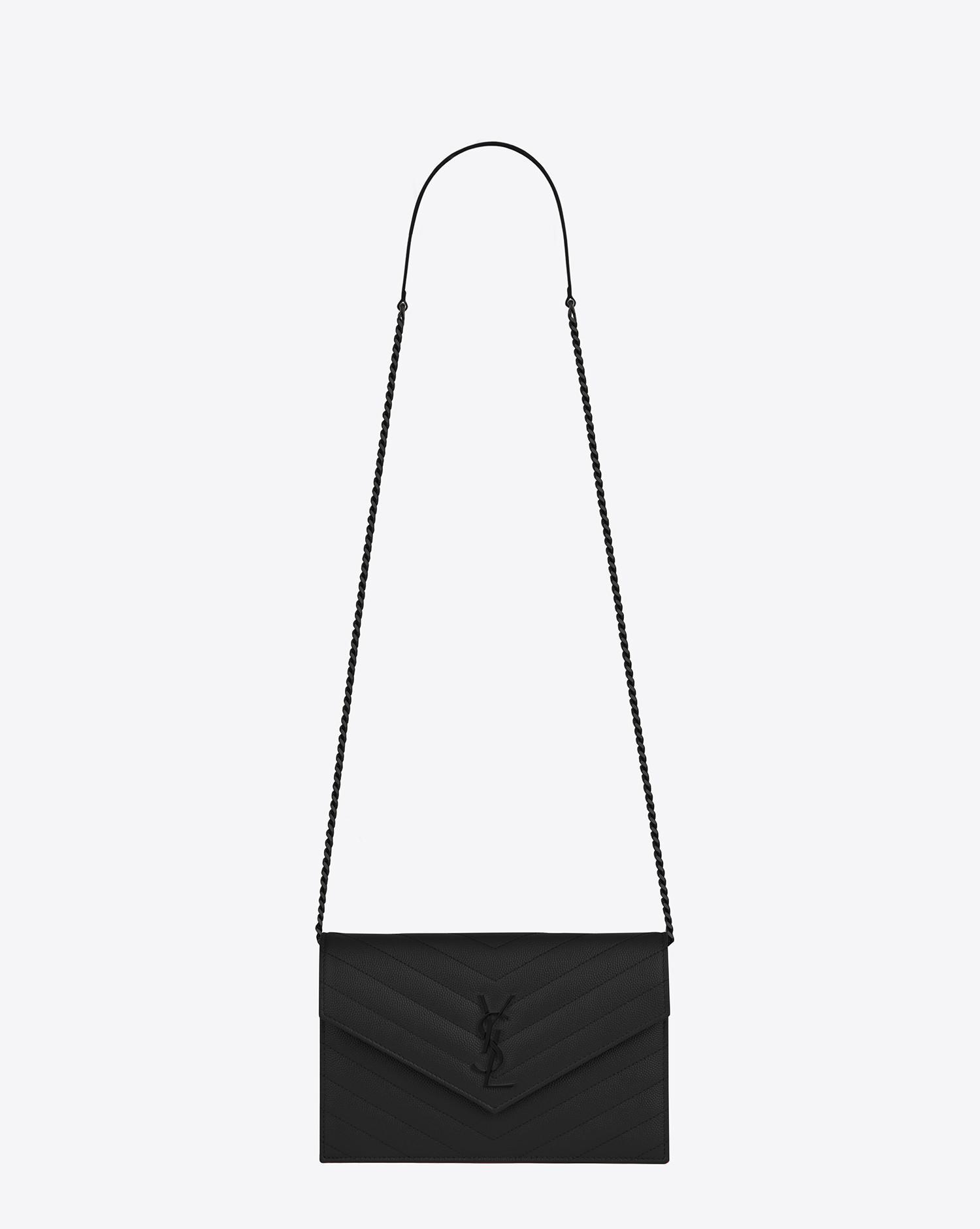 2dbf16e5a42 Saint Laurent Black Envelope Chain Wallet In Grain De Poudre Embossed  Leather. View fullscreen