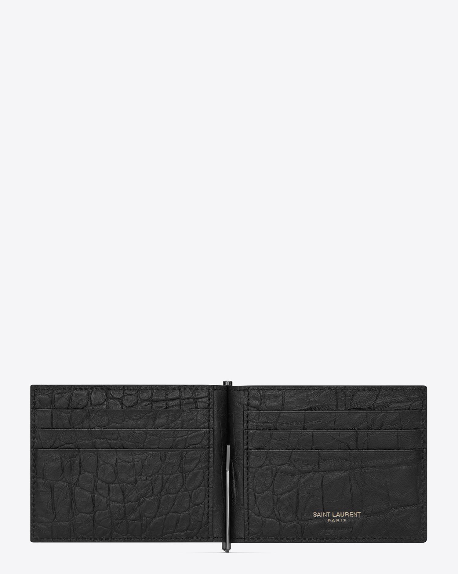 81e484eb Men's Black Monogram Bill Clip Wallet In Crocodile Embossed Leather
