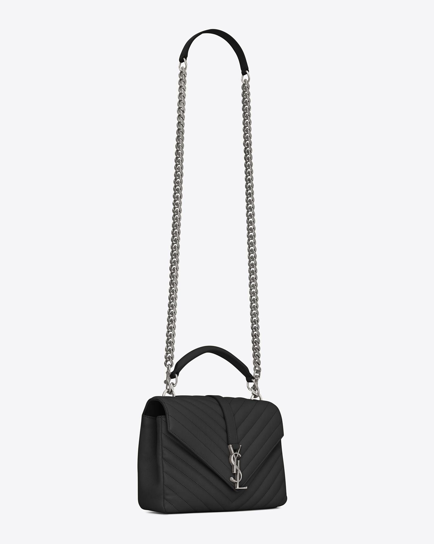 Saint Laurent. Women s Black Monogram College Medium Quilted Leather Shoulder  Bag cdf5df6422210