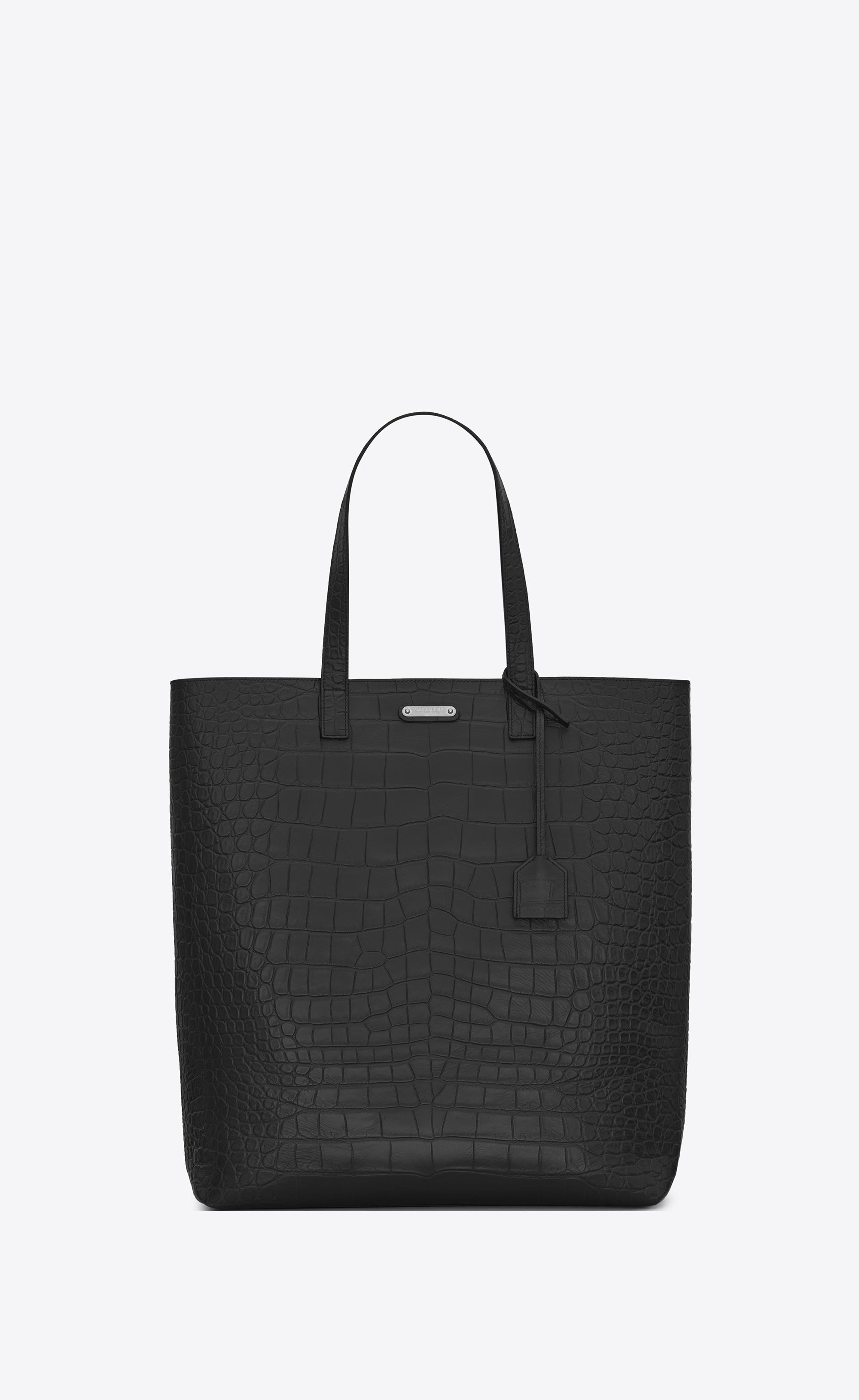 5b3cf23e869b6 Saint Laurent - Black Bold Tote Bag In Crocodile Embossed Leather for Men -  Lyst