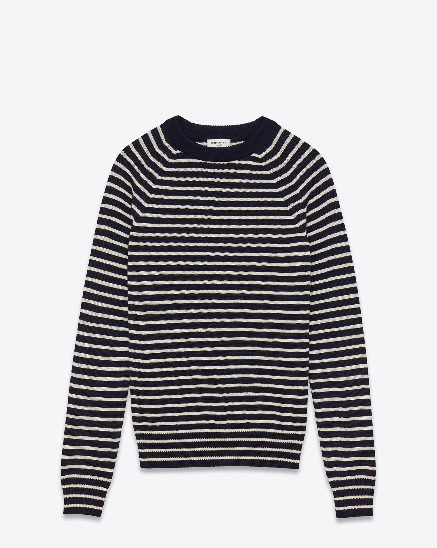 Saint laurent Crewneck Sweater In Navy And White Striped Merino ...