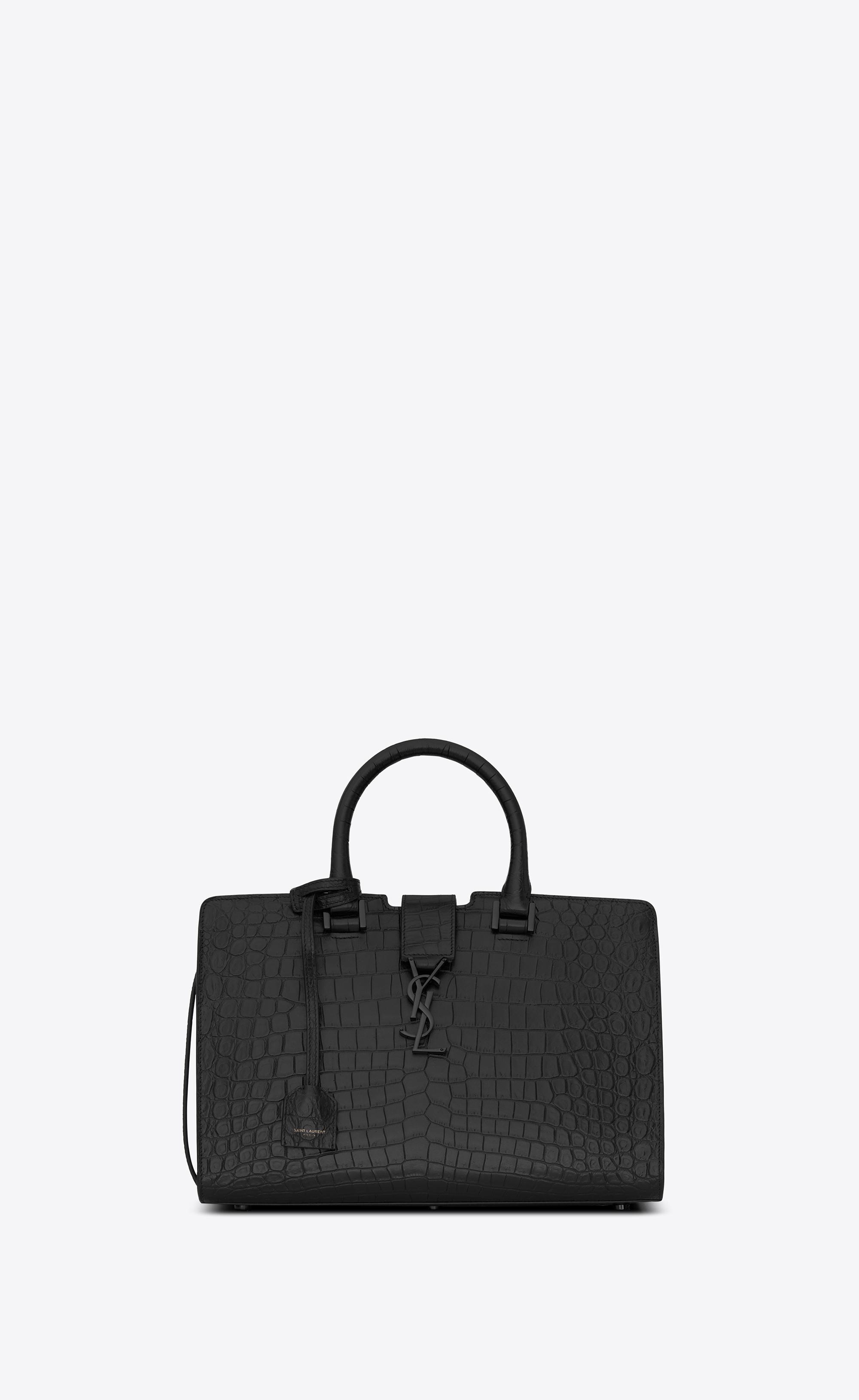 Saint Laurent - Small Cabas Ysl Bag In Black Crocodile Embossed Leather -  Lyst. View fullscreen f8ae91f247