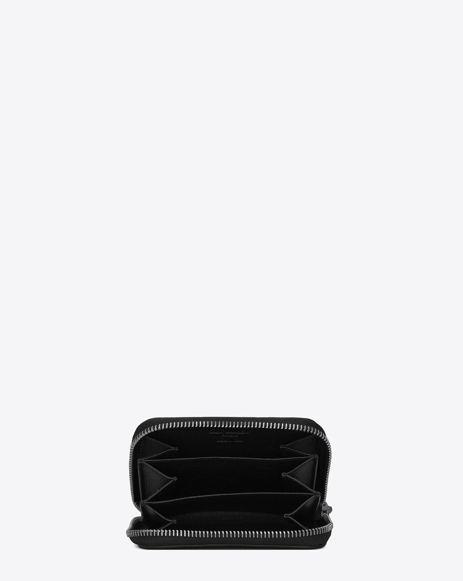 9cc466978a9 Lyst - Saint Laurent Zipped Coin Purse In Crocodile Embossed Leather in  Black for Men - Save 5.79710144927536%