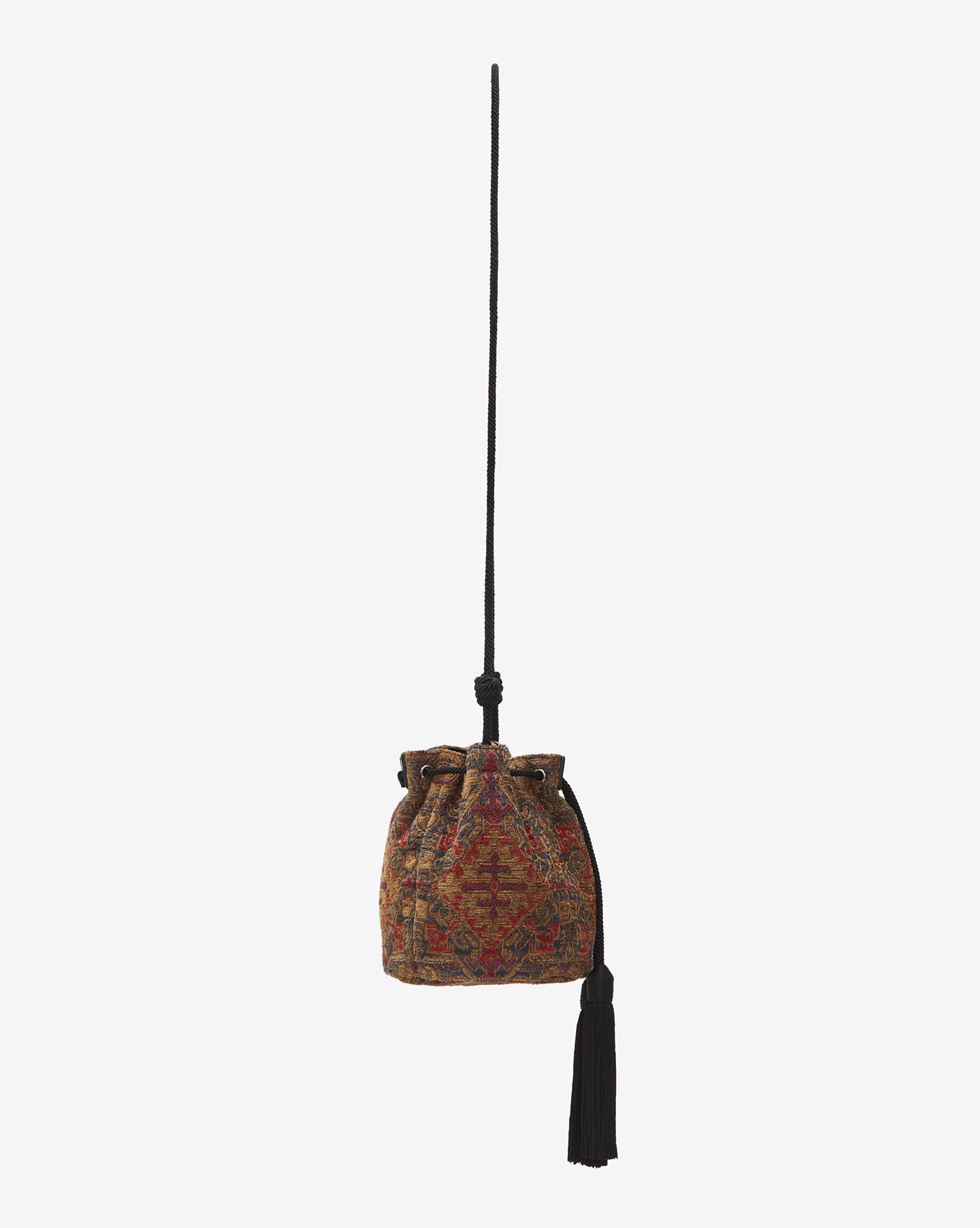 a97e39c24c Saint Laurent Brown Small Anja Tassel Bucket Bag In Saffron Red Marrakech  Woven Fabric