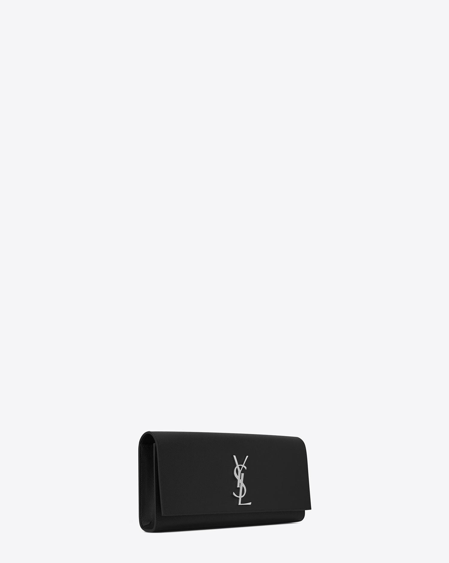 Saint Laurent Small Kate Clutch In Black Grain De Poudre