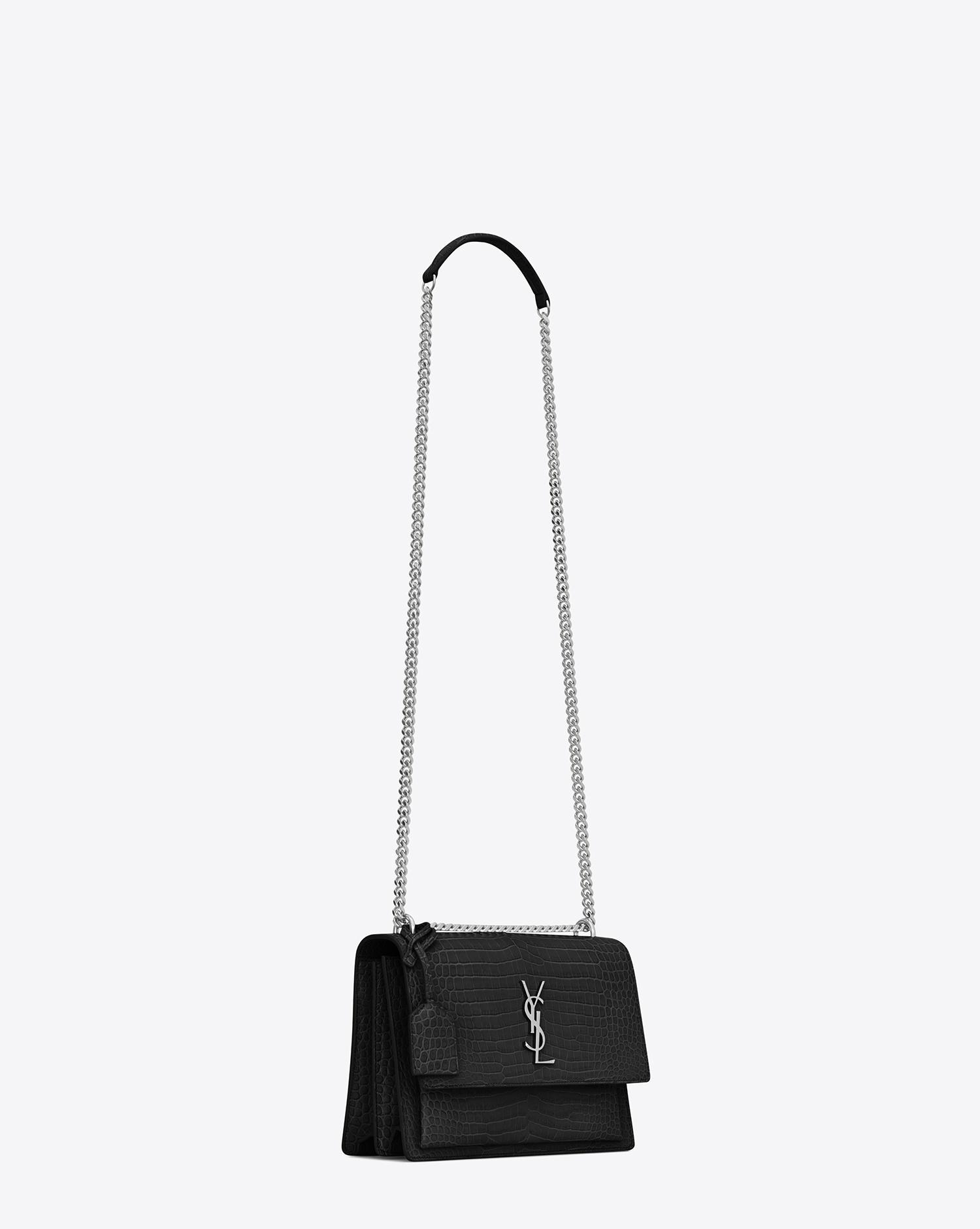 Lyst - Saint Laurent Sunset Medium Croc-effect Leather Shoulder Bag ... 0d9d3b7f50b26
