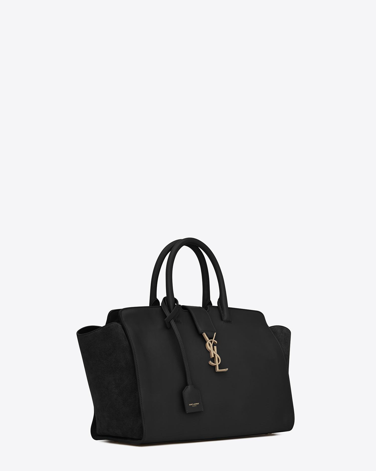 ad2904c43fee Saint Laurent. Women s Black Small Monogram Downtown Cabas Leather And  Suede Tote Bag