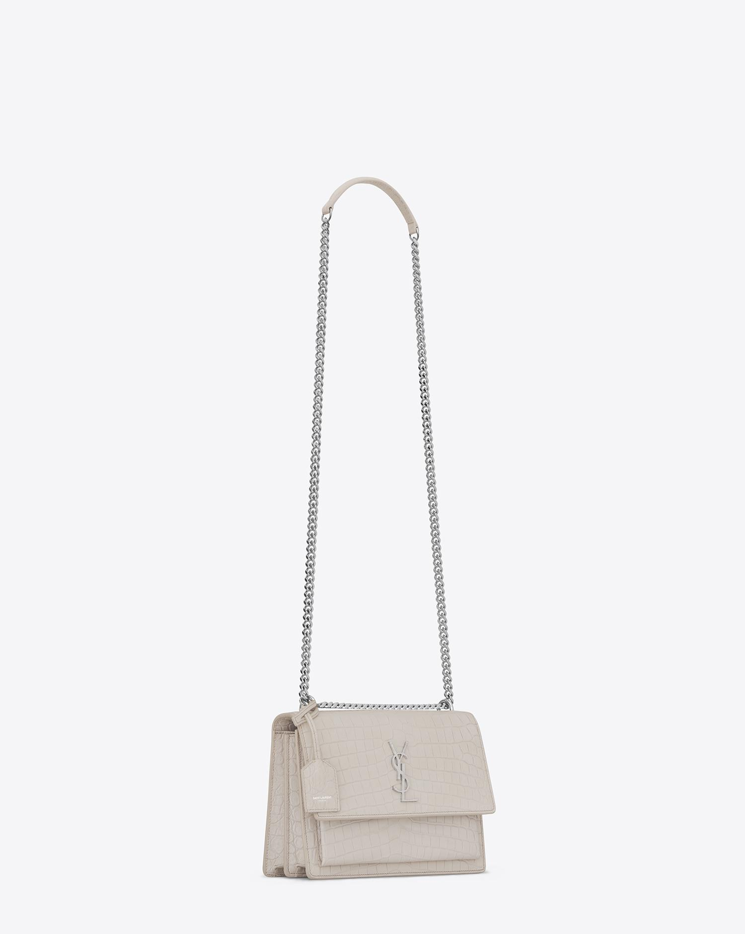 Saint Laurent. Women s Medium Sunset Bag In Icy White Crocodile Embossed  Leather 5e1992918529d