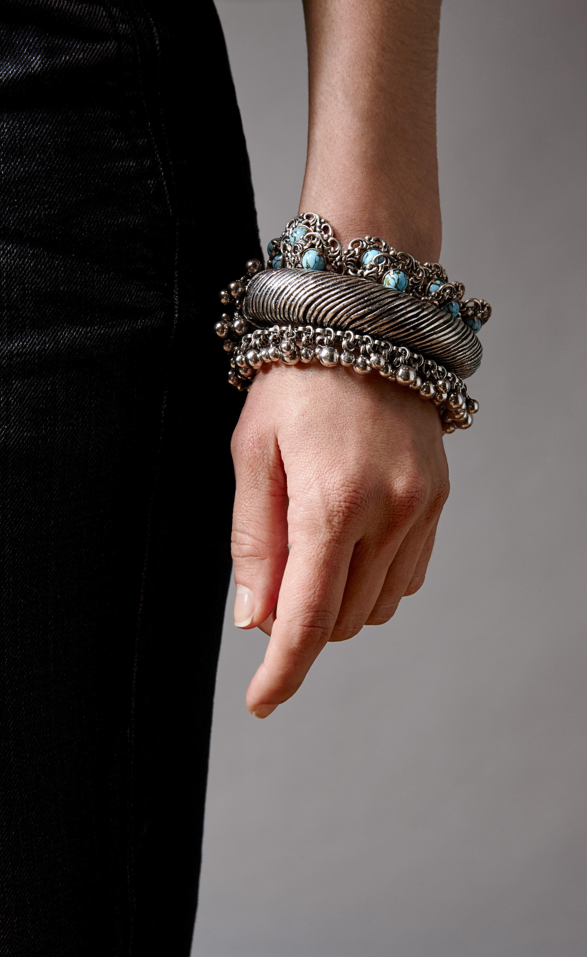 f9ecb571c3 Women's Metallic Ysl Folk Bracelet With Bells In Silver Metal.