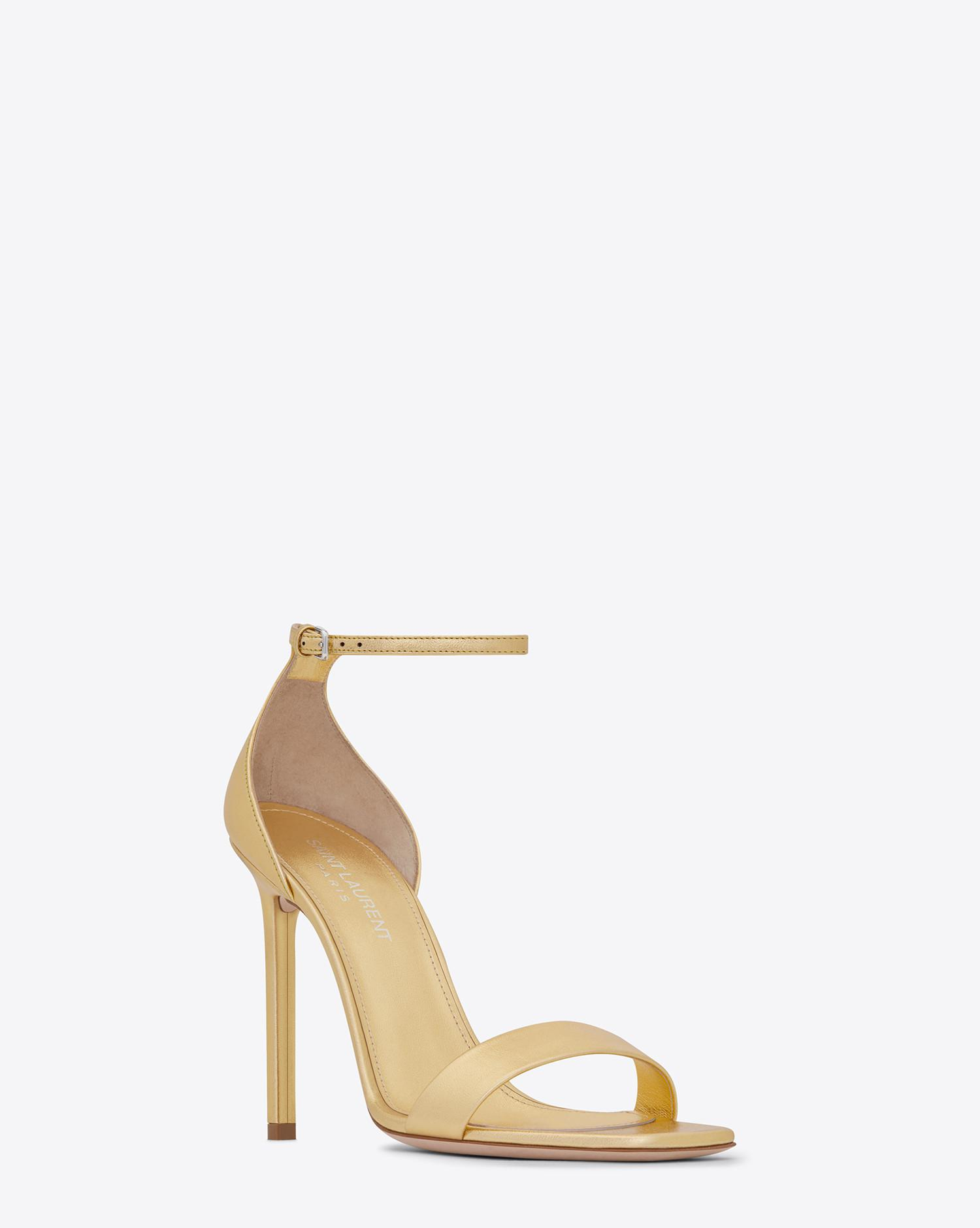 ceffdc58ab8b Saint Laurent Amber Sandal In Metalized Leather in Metallic - Lyst