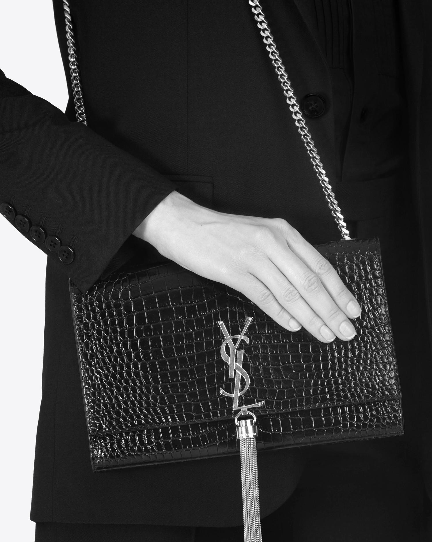 453b7db041 Saint Laurent Medium Kate Tassel Satchel In Dark Blue Crocodile Embossed  Shiny Leather