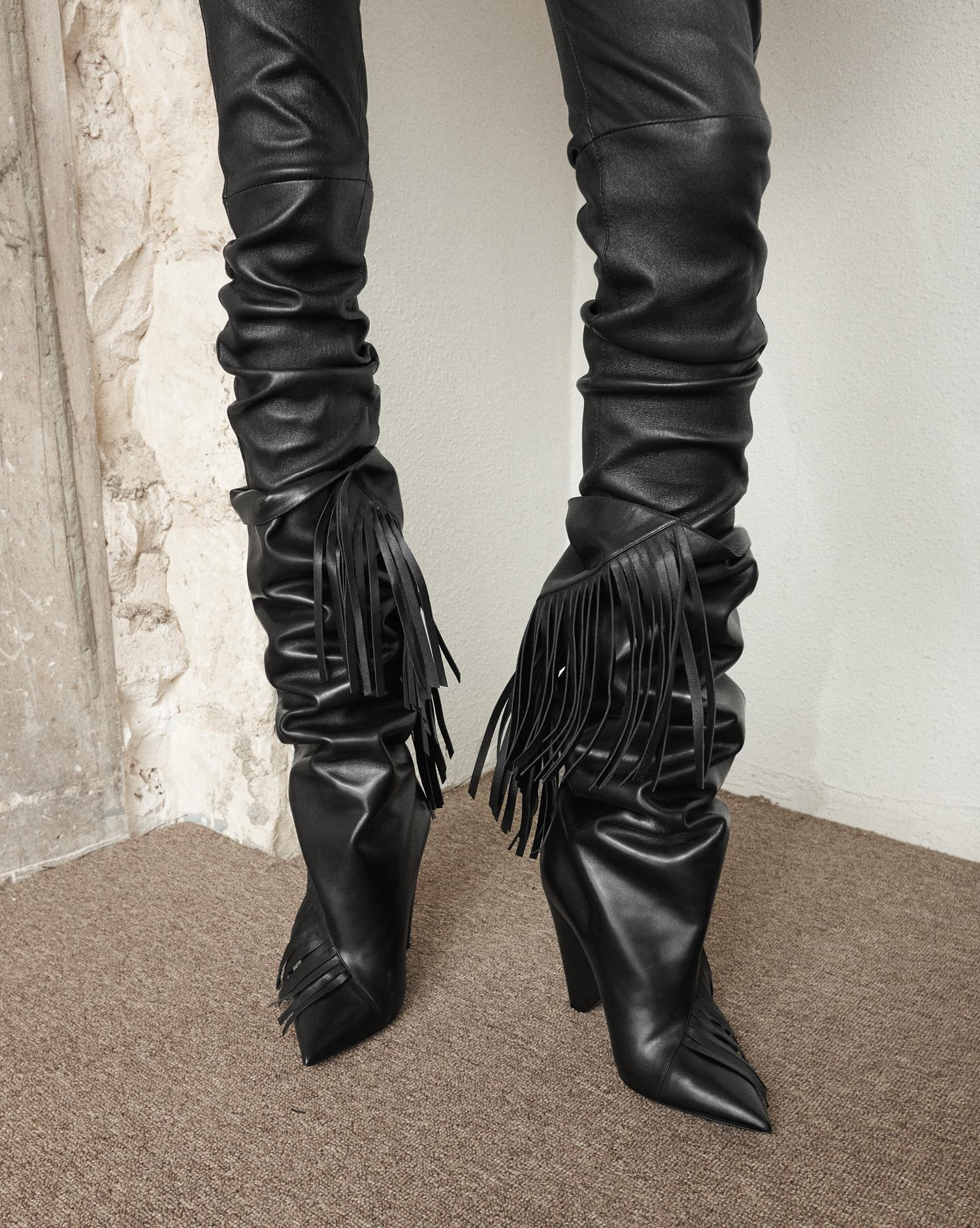 aa854c19a64 Saint Laurent Niki 105 Fringed Knee-high Boot In Black Leather - Lyst
