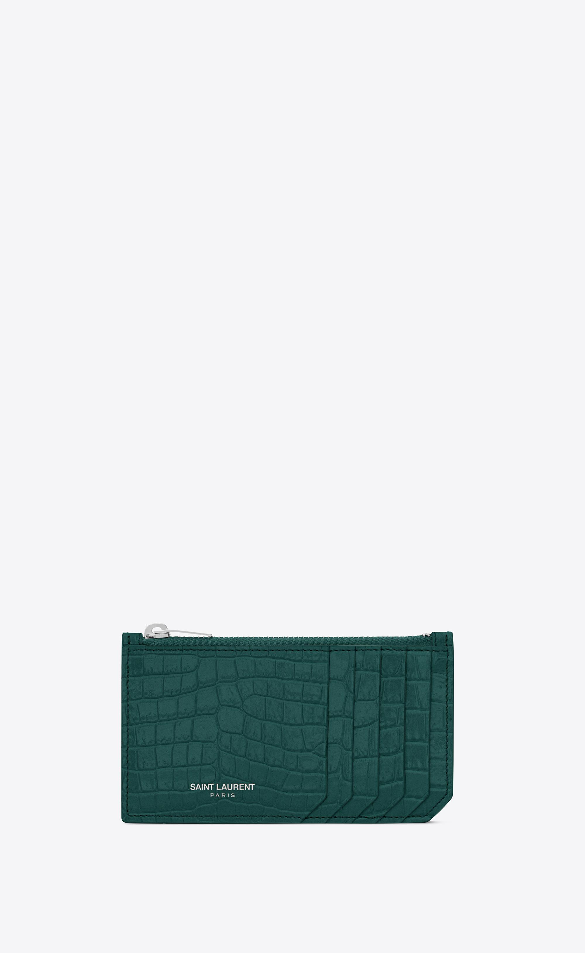 4581c40e Women's Fragment Zipped Card Case In Crocodile Embossed Shiny Leather