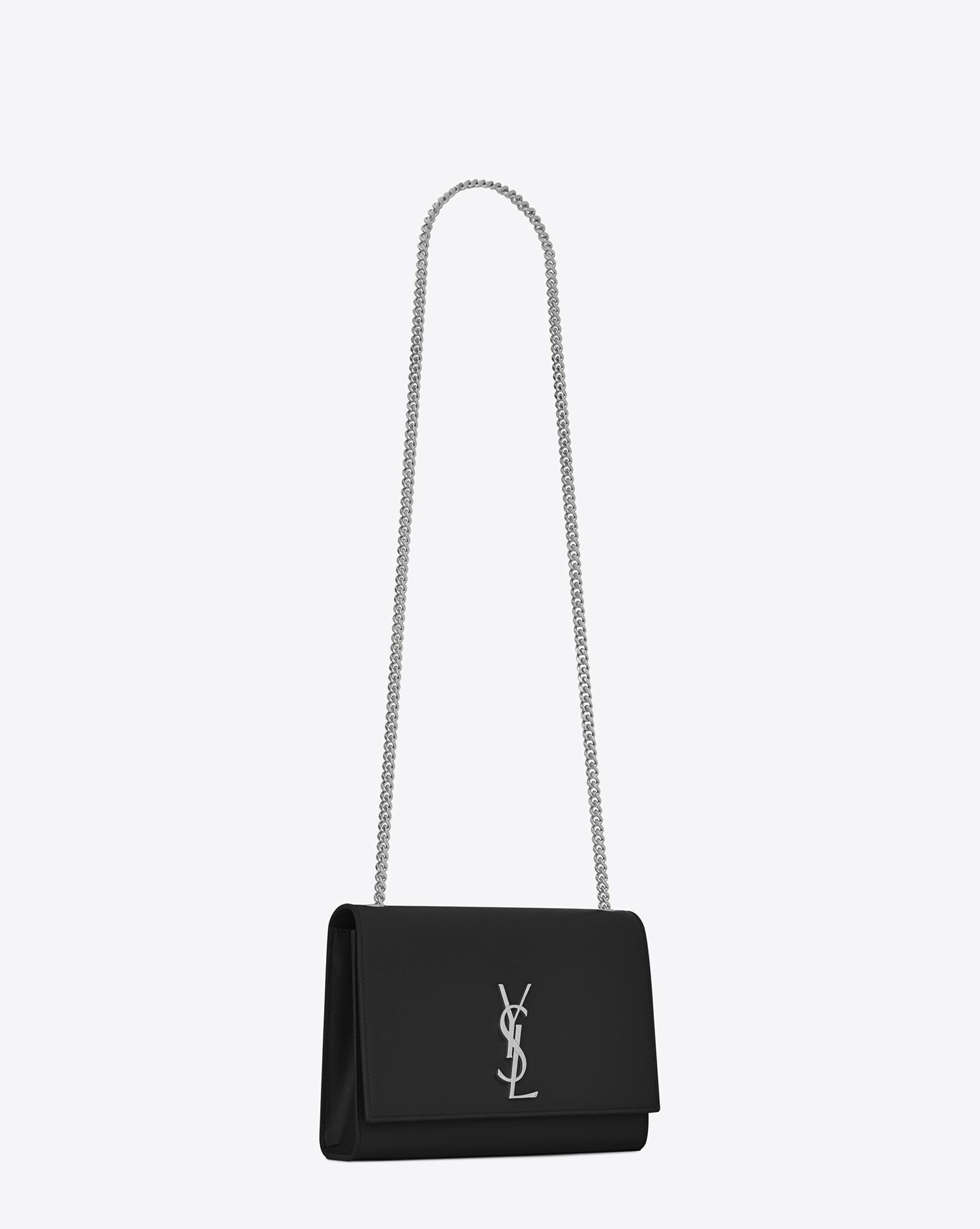 81e079f99e8 Saint Laurent Classic Medium Kate Satchel In Black Grain De Poudre ...