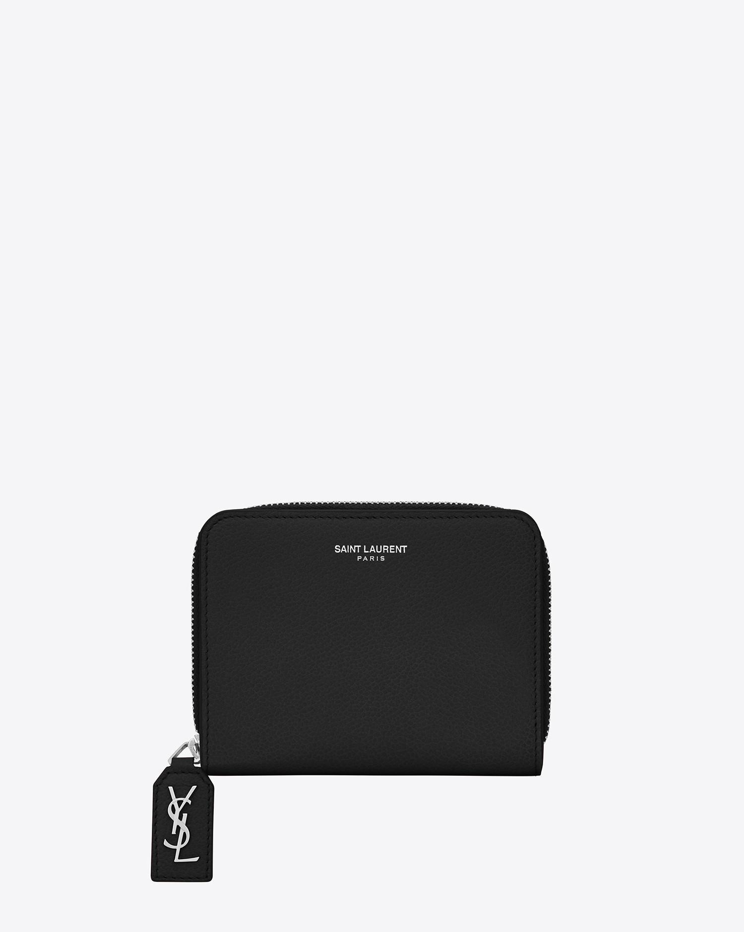68017addee Saint Laurent Black Rive Gauche Compact Zip Around Wallet In Grained Leather