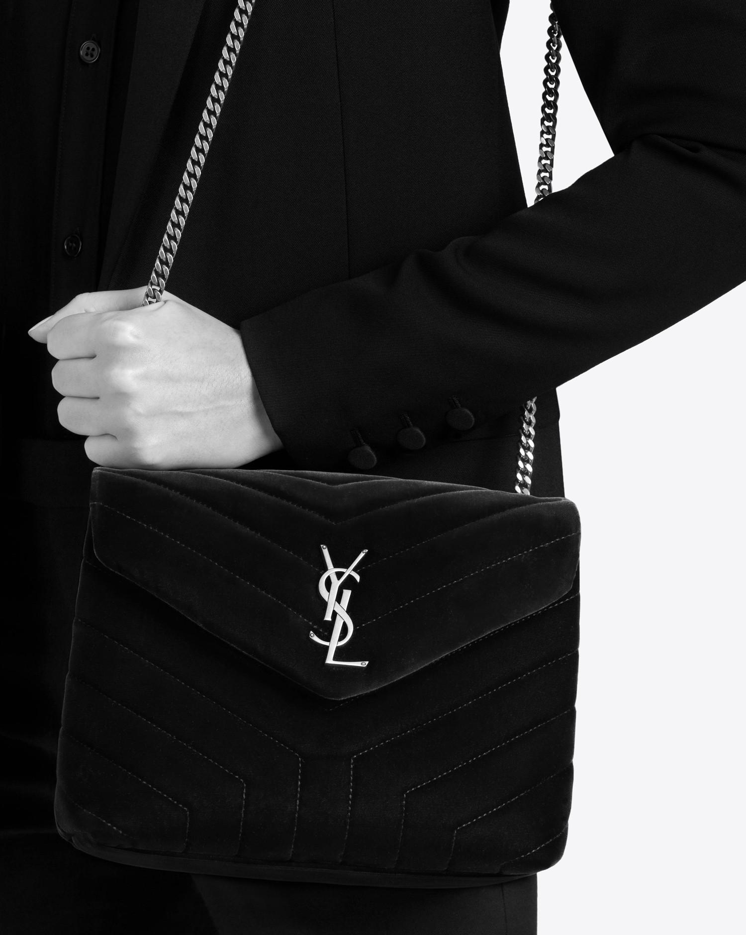Lyst - Saint Laurent Small Loulou Chain Bag In Black